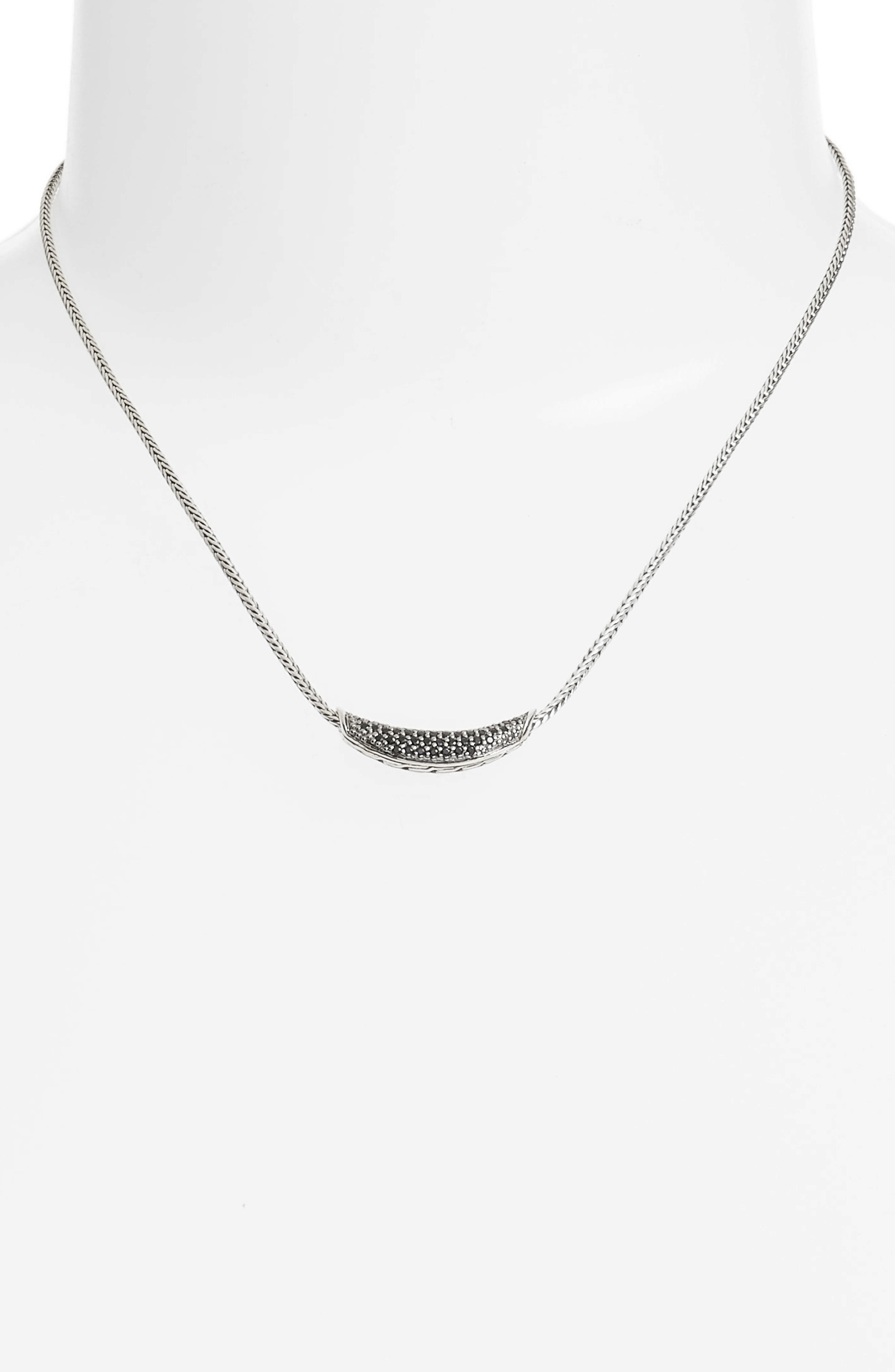 Classic Chain Gemstone Necklace,                             Alternate thumbnail 2, color,                             SILVER/ BLACK SAPPHIRE