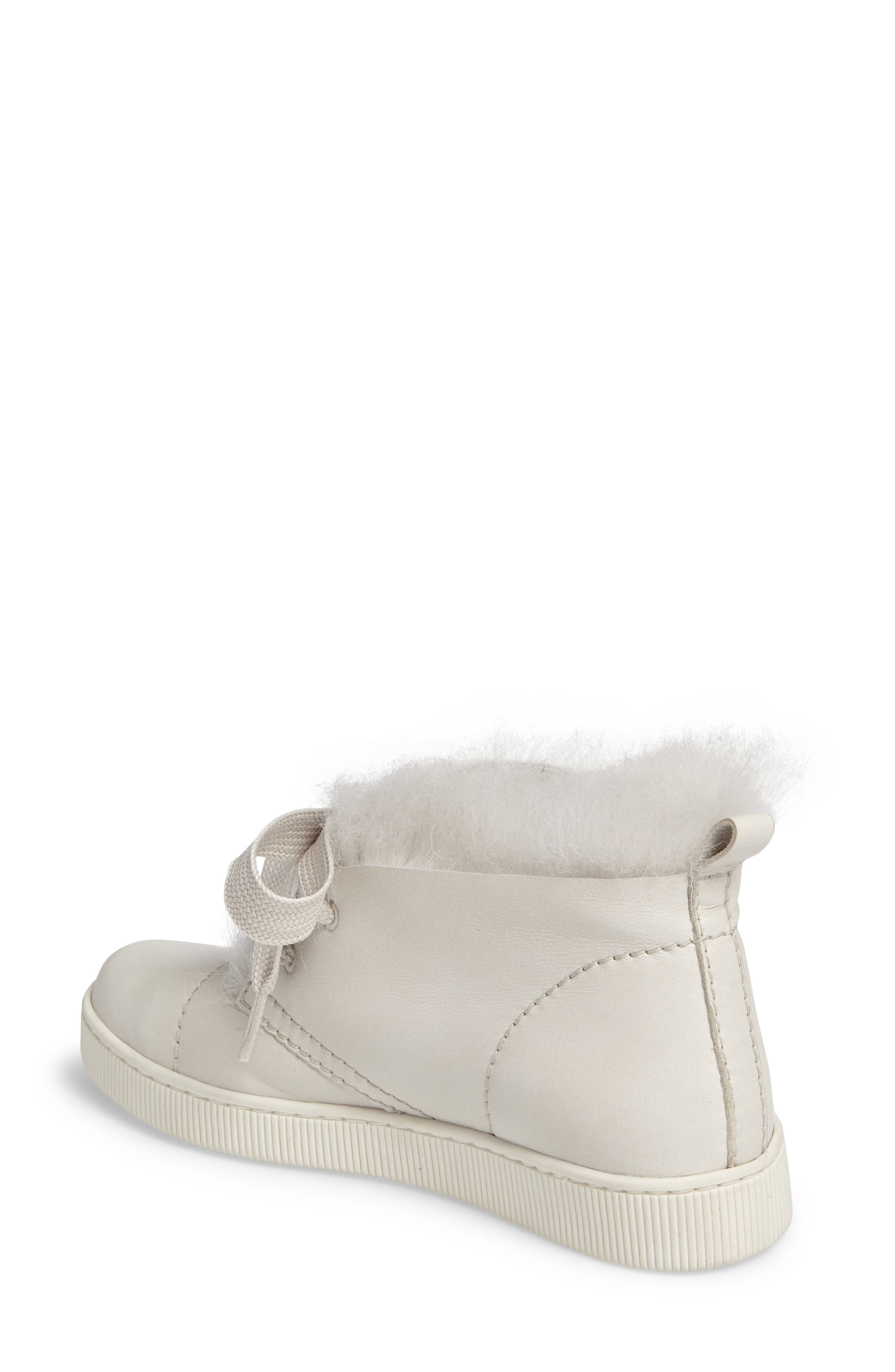 Parley Genuine Shearling & Leather Sneaker,                             Alternate thumbnail 4, color,