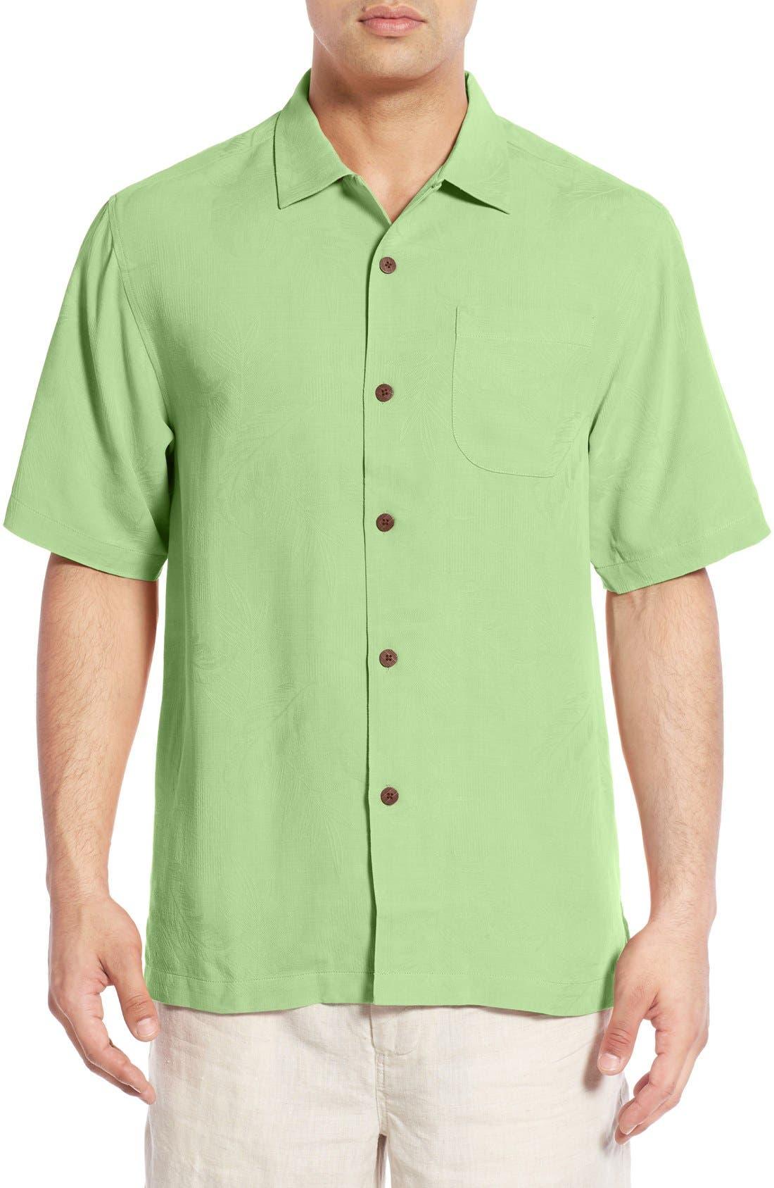 Rio Fronds Short Sleeve Silk Sport Shirt,                             Main thumbnail 6, color,