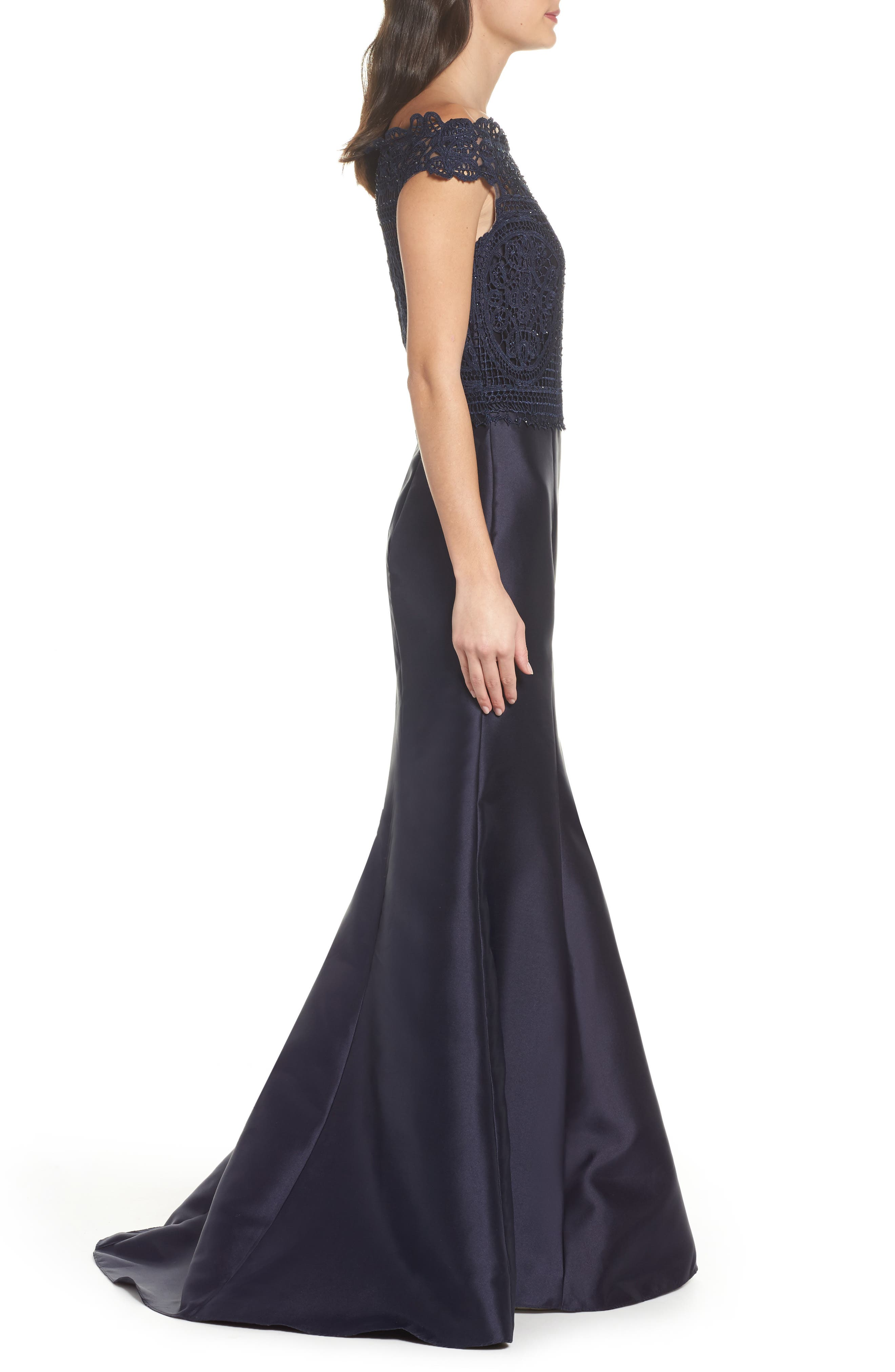 Lace & Twill Mermaid Gown,                             Alternate thumbnail 3, color,                             NAVY