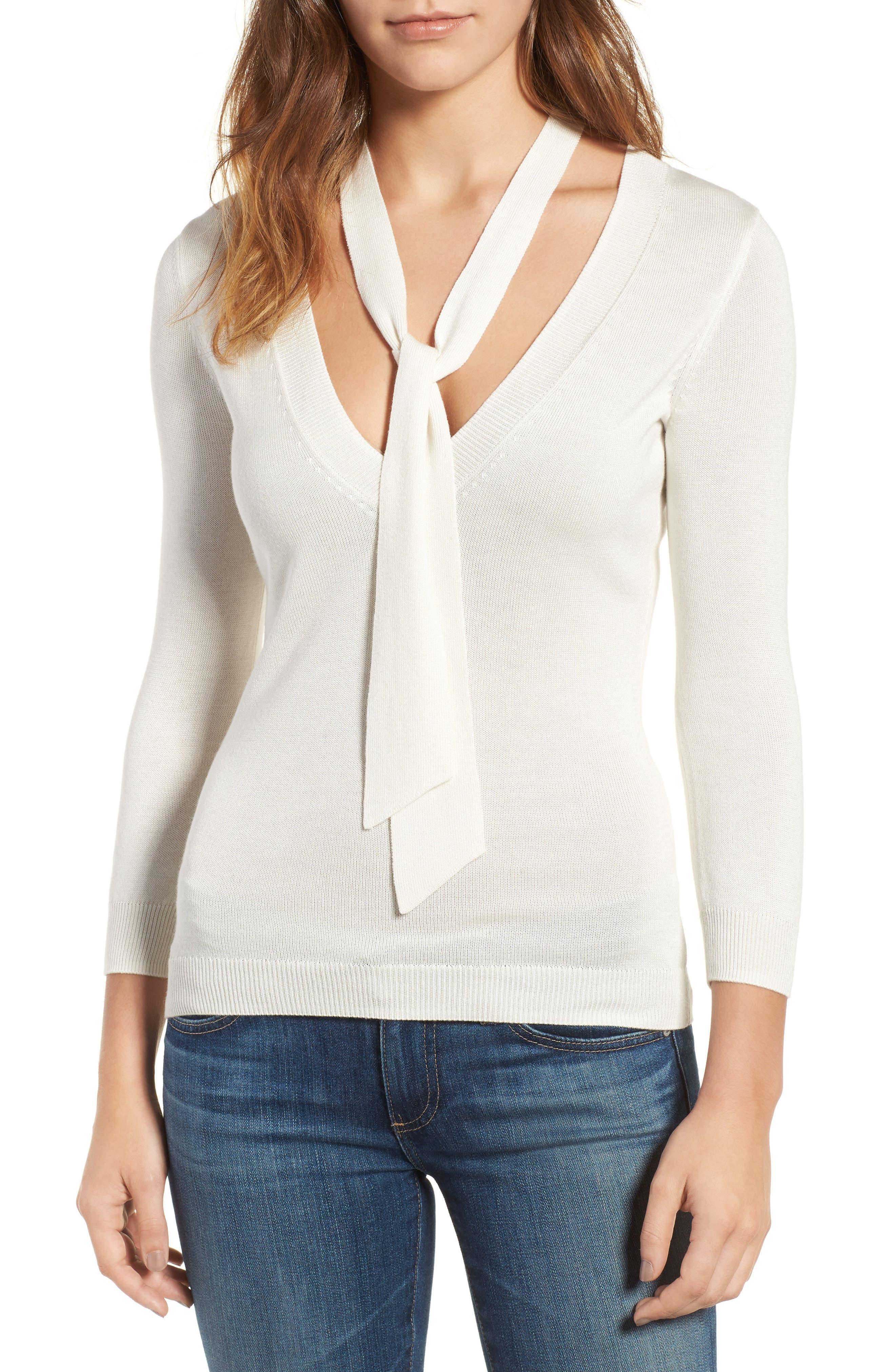 Winnie Tie Neck Sweater,                         Main,                         color, 111