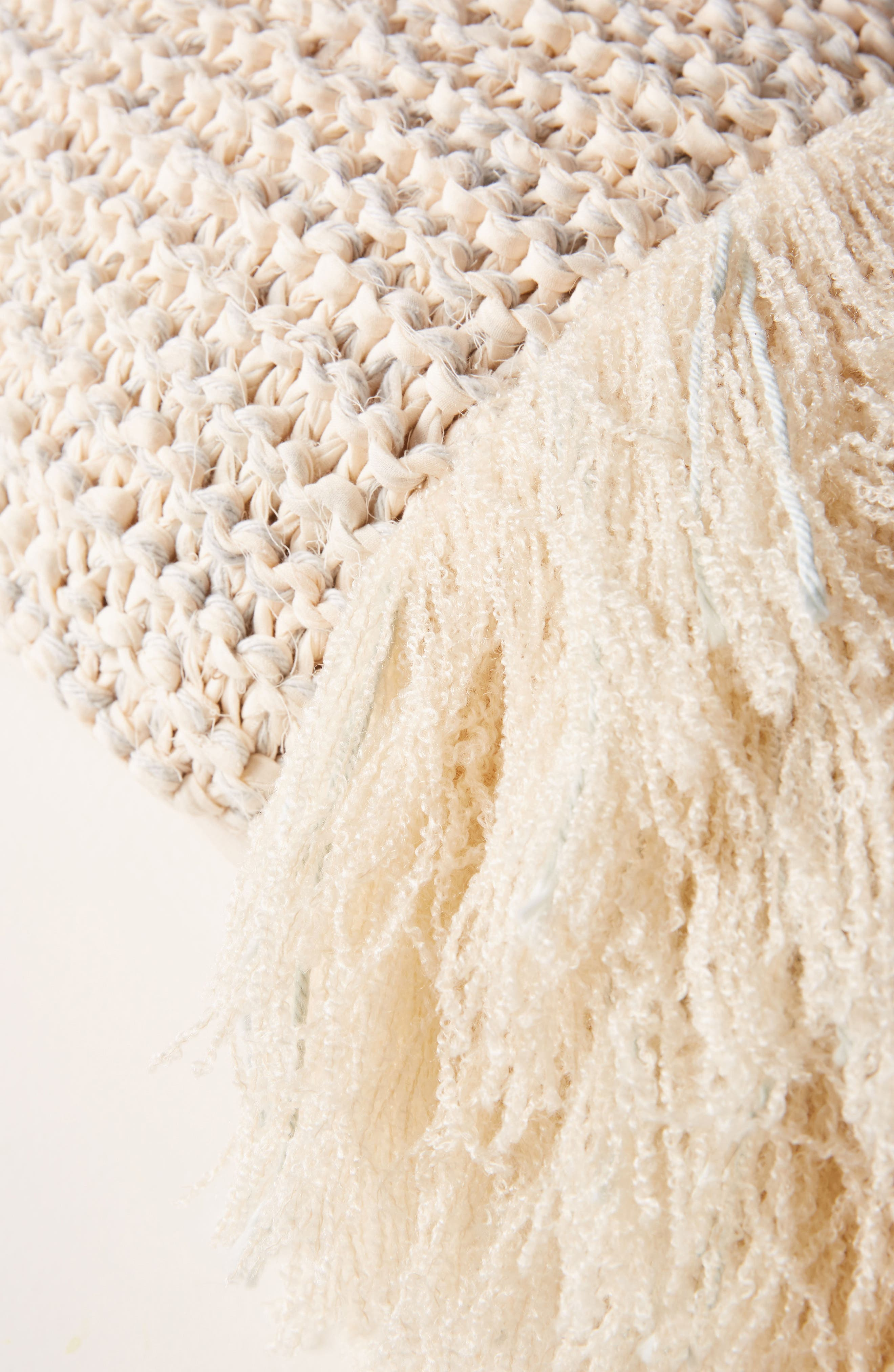 Fringed Waffleknit Pillow,                             Alternate thumbnail 2, color,