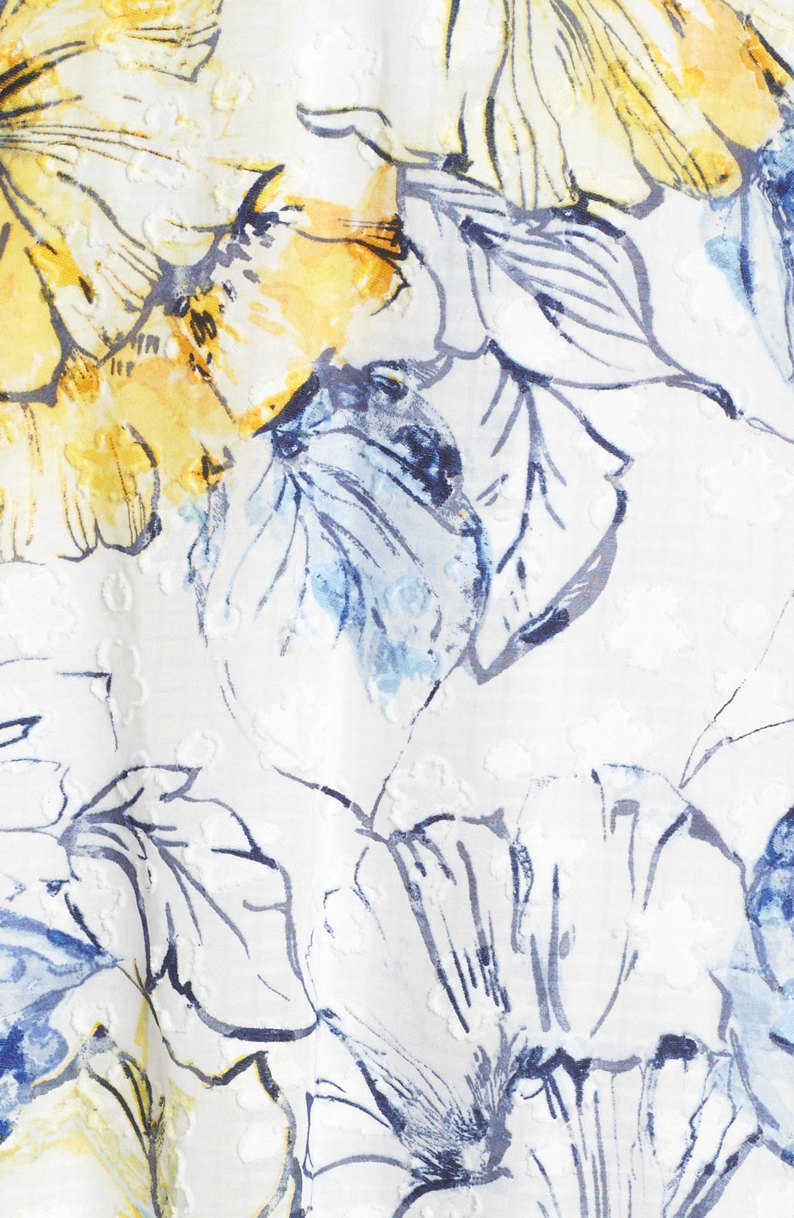 Floral Print Midi Dress,                             Alternate thumbnail 5, color,                             461