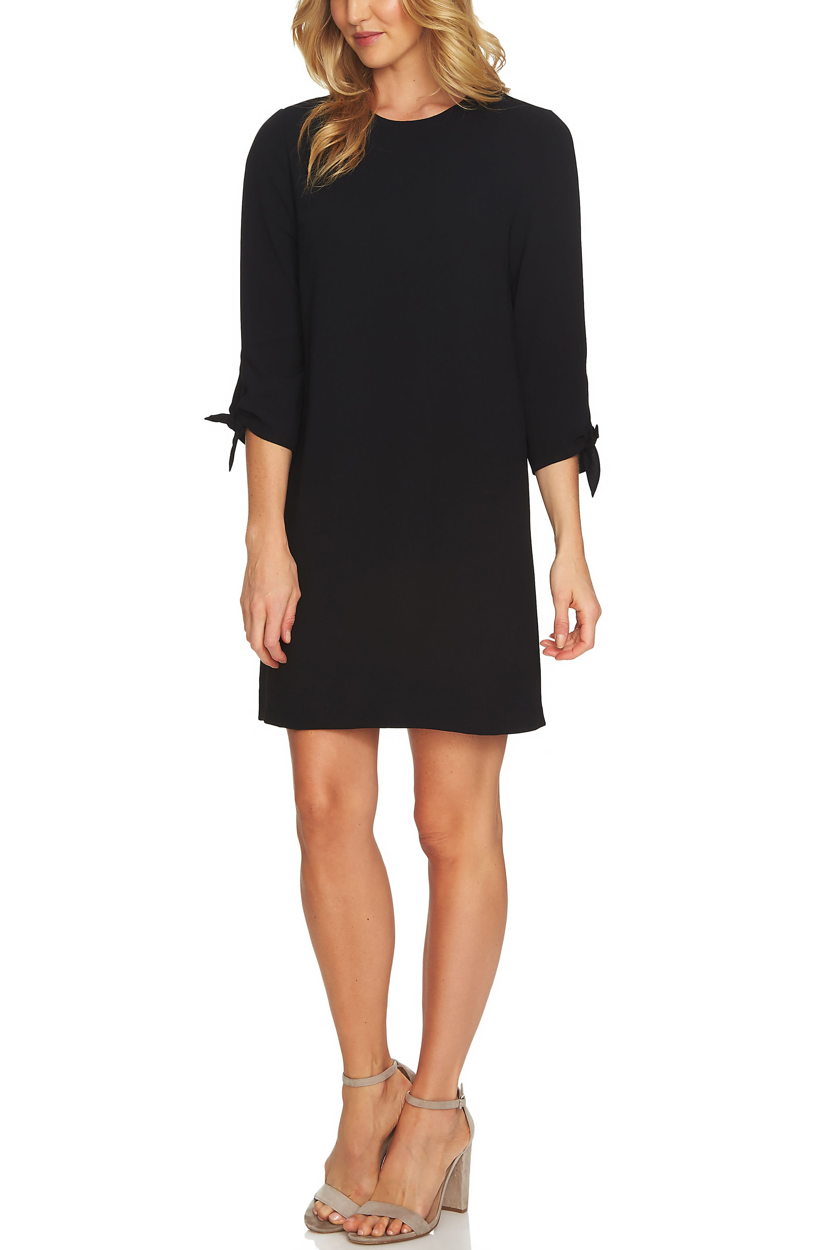 Tie Sleeve Shift Dress,                             Alternate thumbnail 3, color,                             RICH BLACK