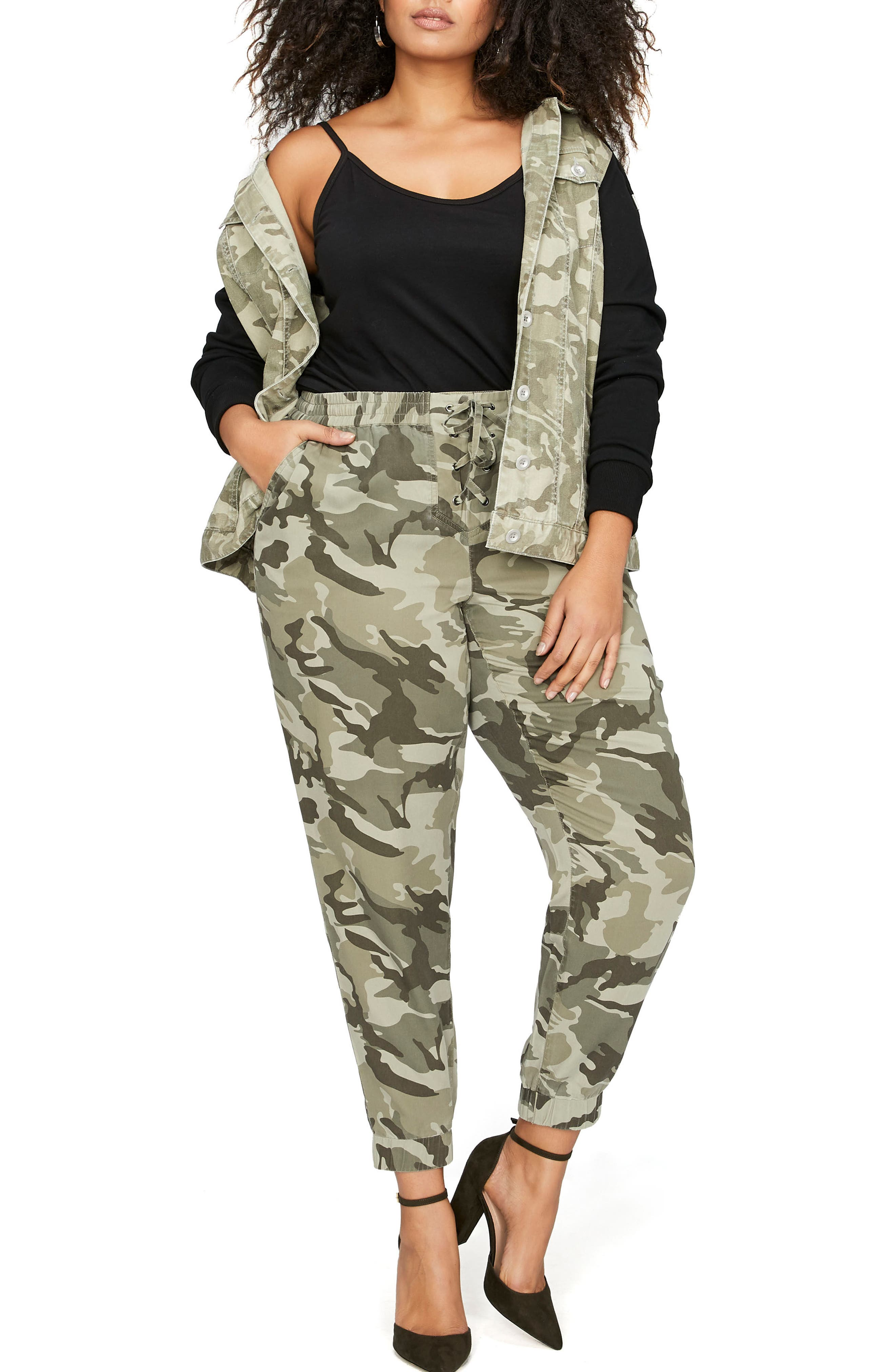 Hooded Camo Jacket with Knit Sleeves,                             Alternate thumbnail 3, color,                             358