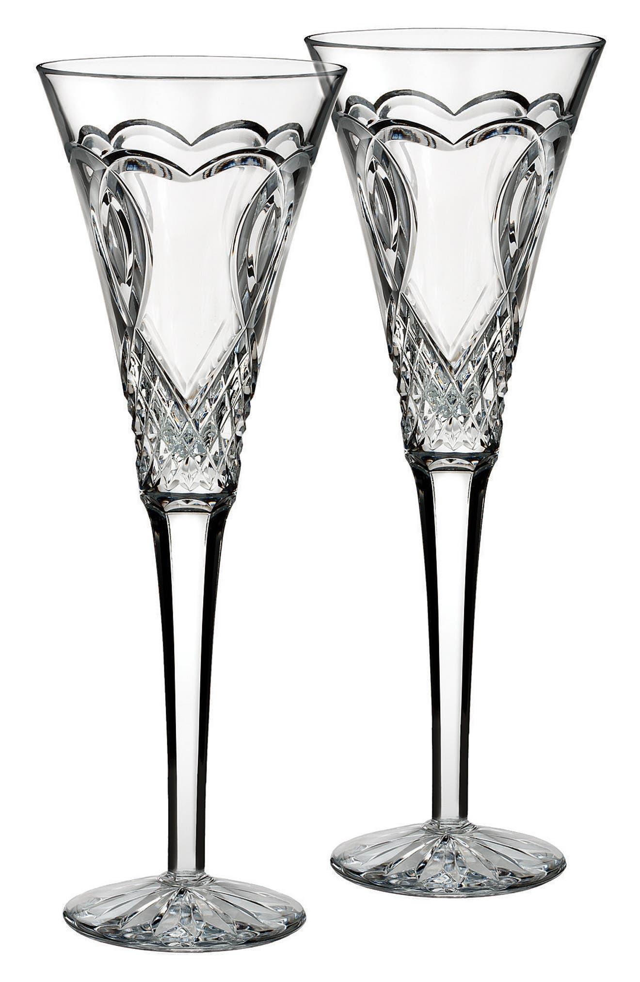 'Wedding' Lead Crystal Toasting Flutes,                             Alternate thumbnail 2, color,                             100