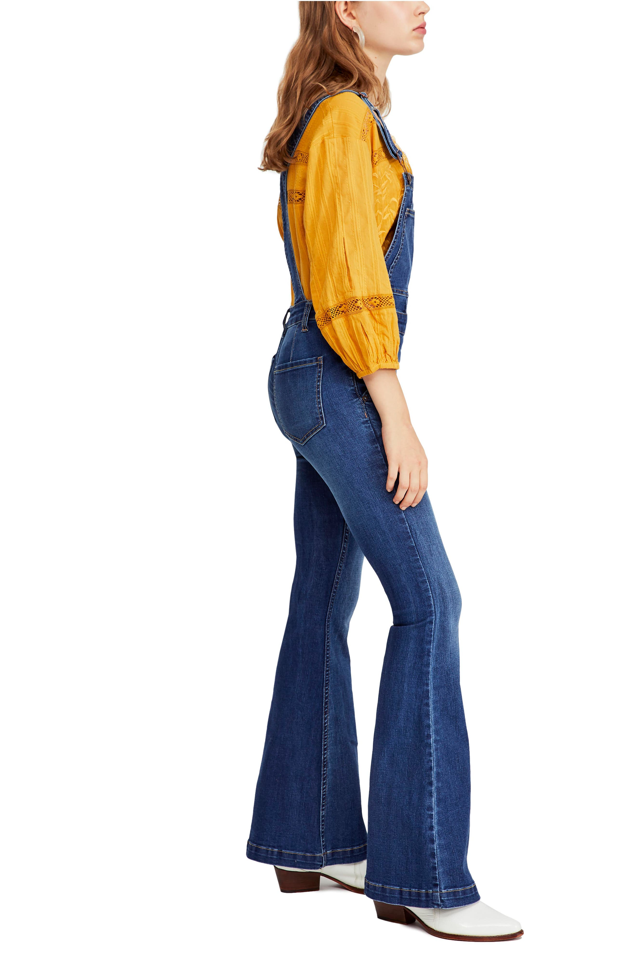 Carly Flare Overalls,                             Alternate thumbnail 3, color,                             BLUE