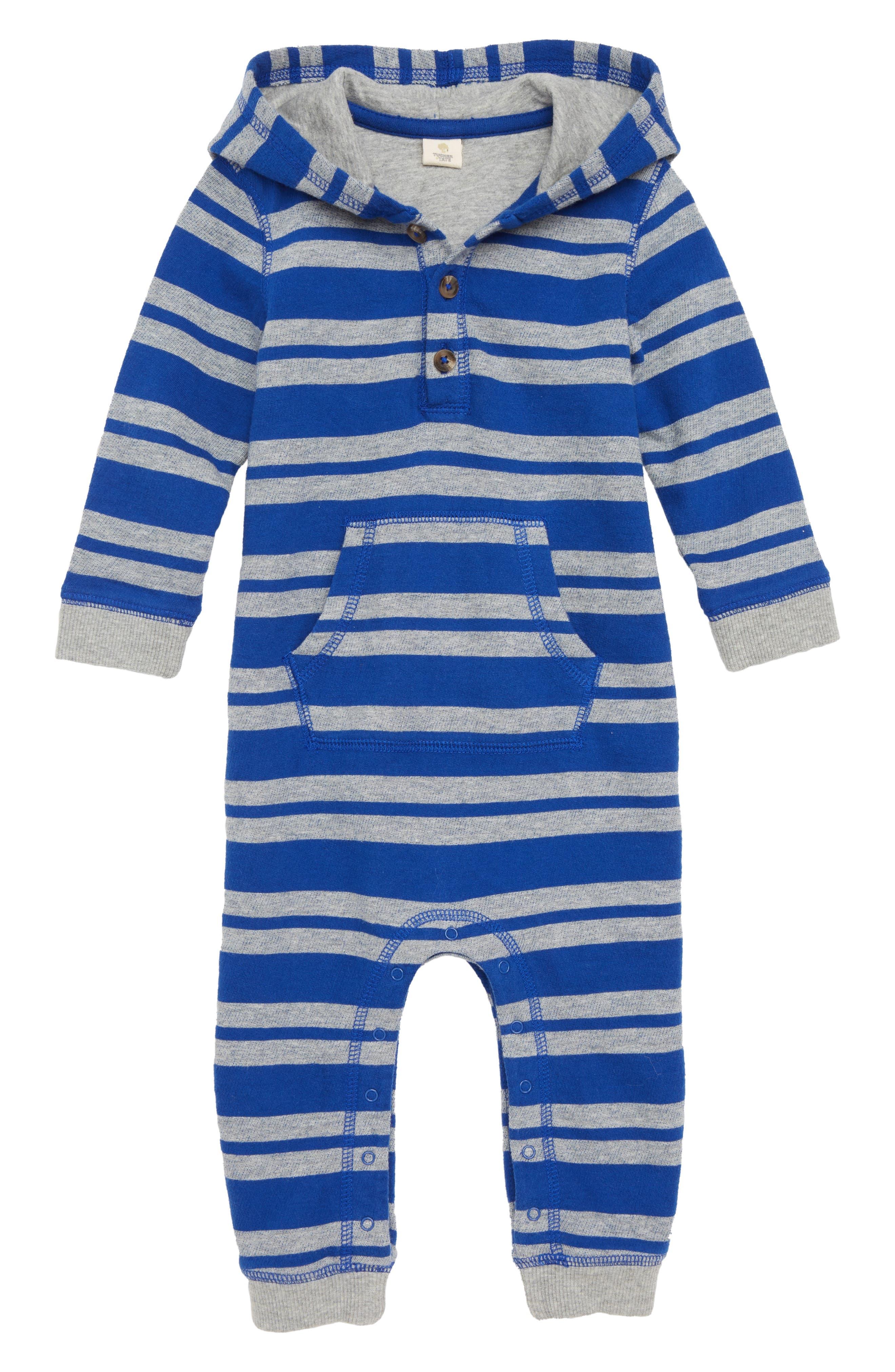 Stripe Hooded Romper,                             Main thumbnail 1, color,                             BLUE MAZARINE- GREY STRIPE