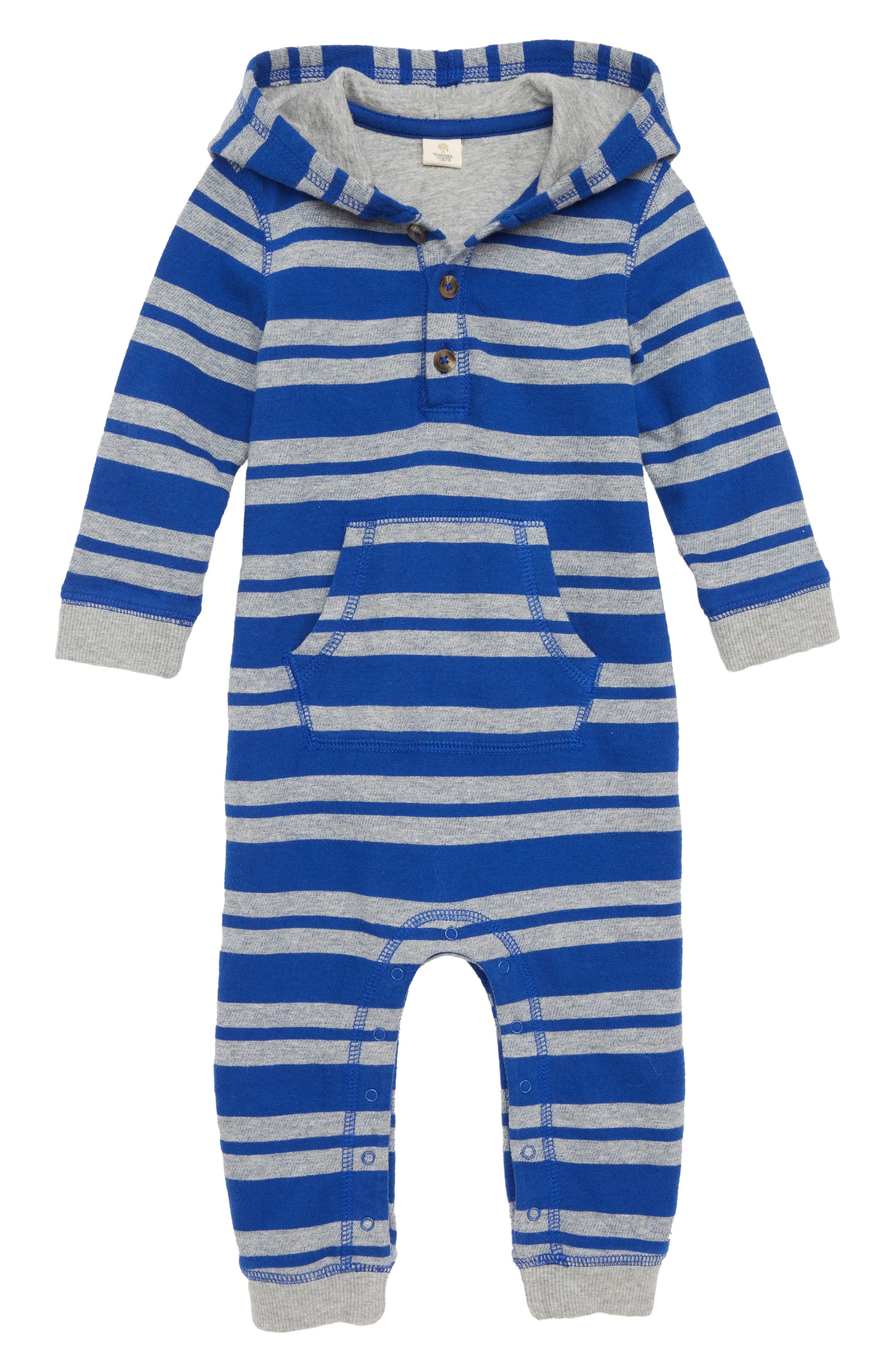 Stripe Hooded Romper,                         Main,                         color, BLUE MAZARINE- GREY STRIPE