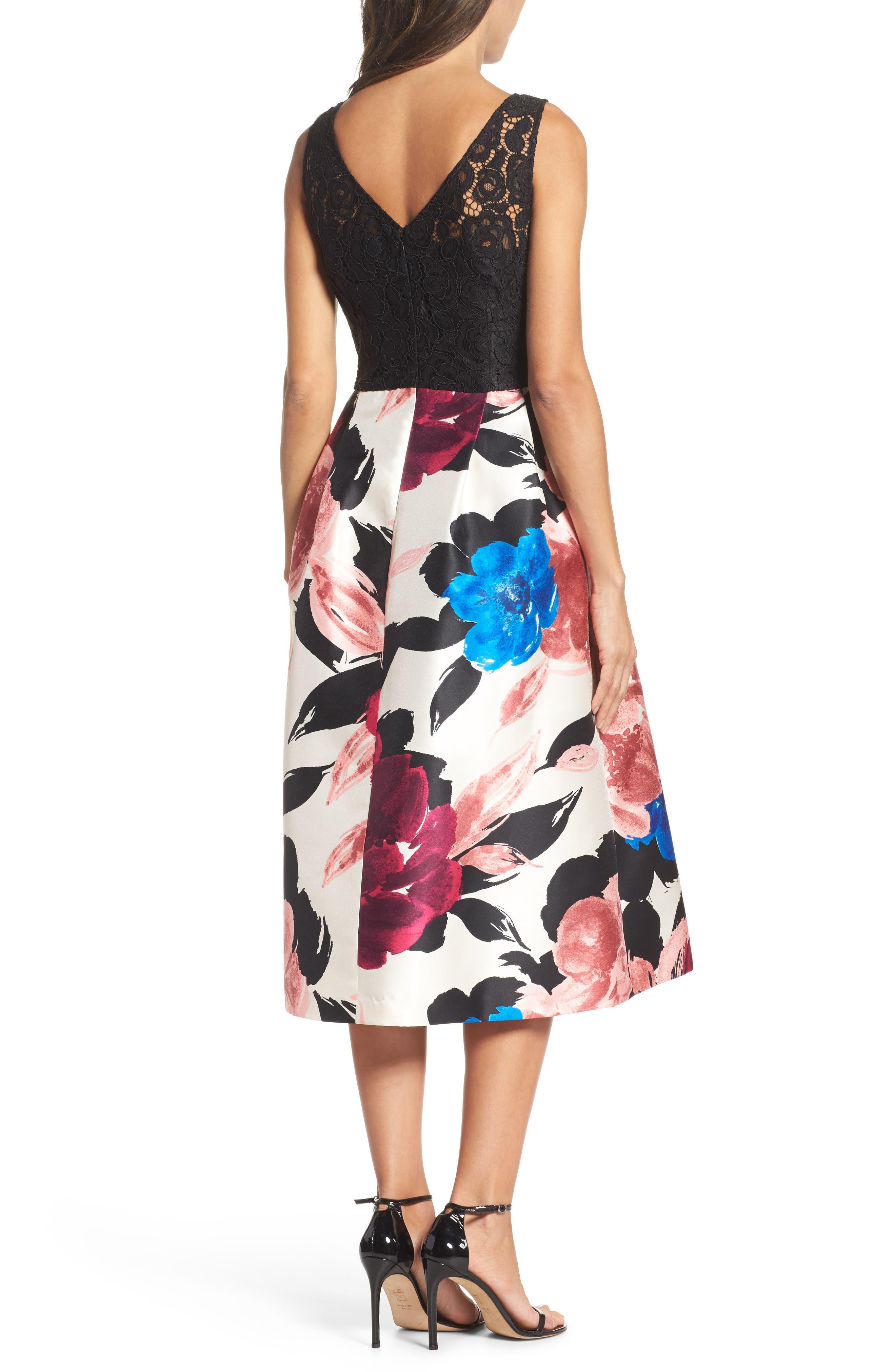 Lace Bodice Midi Dress,                             Alternate thumbnail 2, color,                             006