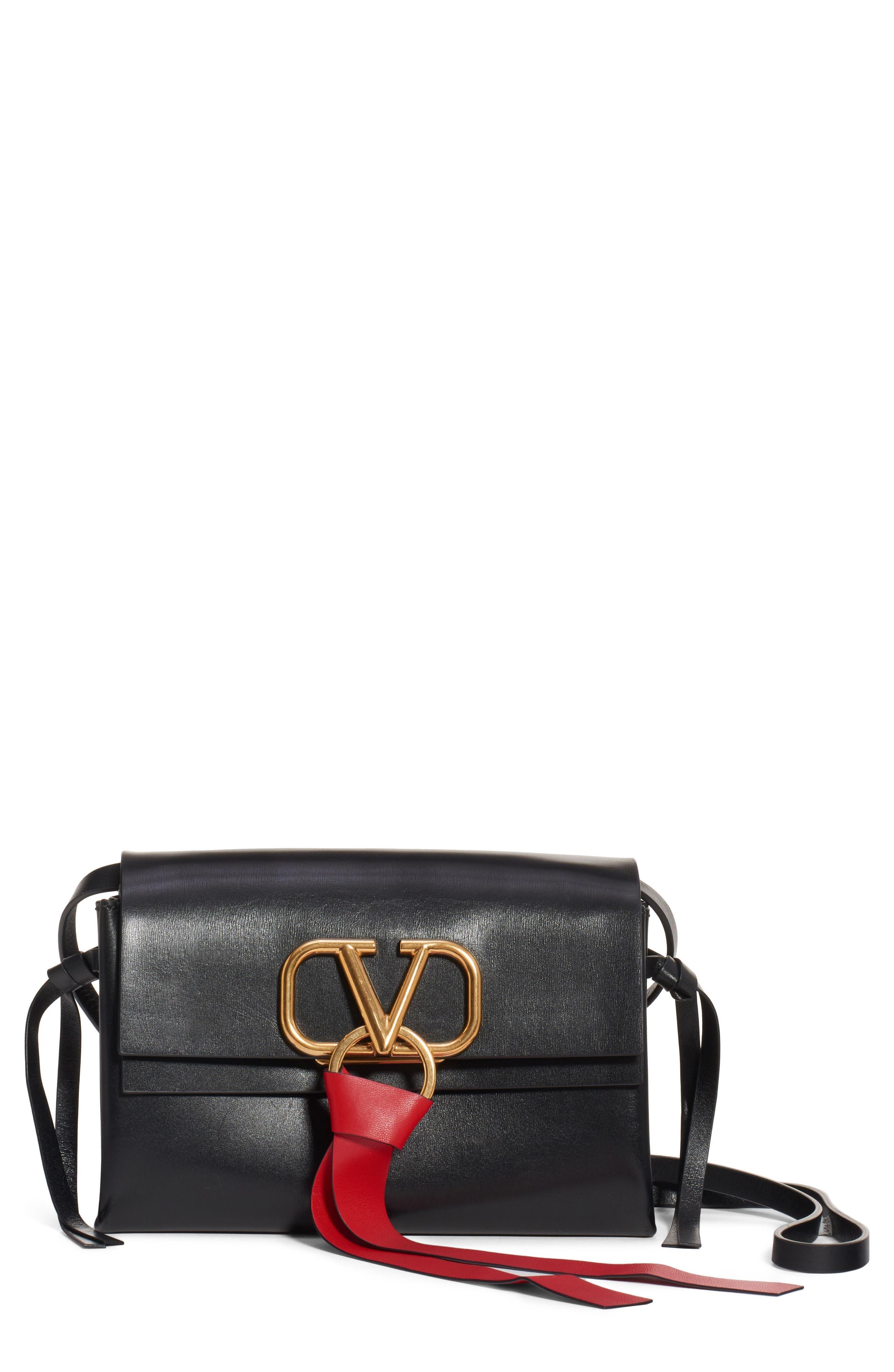 VALENTINO GARAVANI,                             V-Ring Leather Crossbody Bag,                             Main thumbnail 1, color,                             NERO-NERO/ NERO