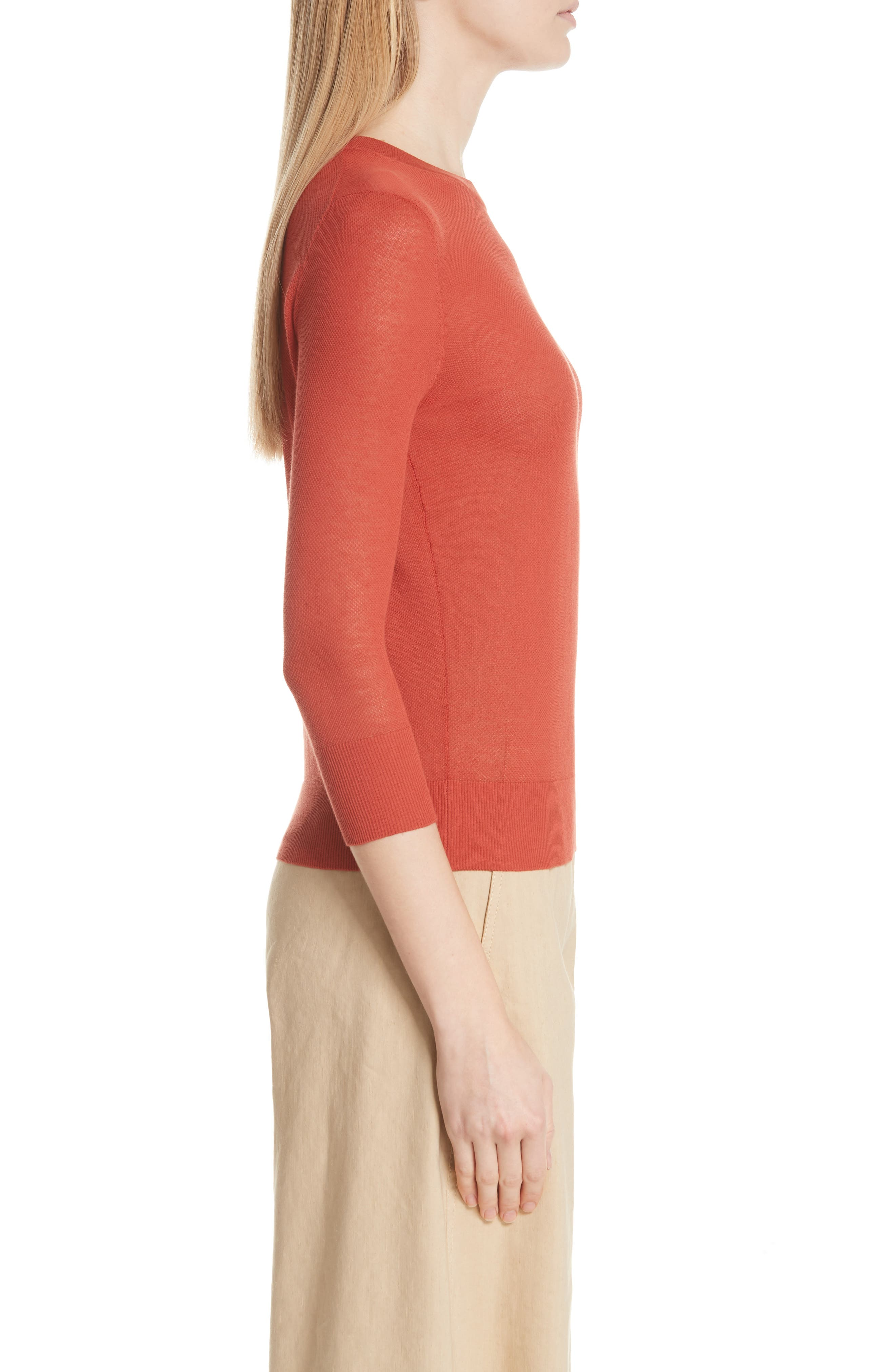 Textured Cotton Pullover Sweater,                             Alternate thumbnail 3, color,                             PAPRIKA