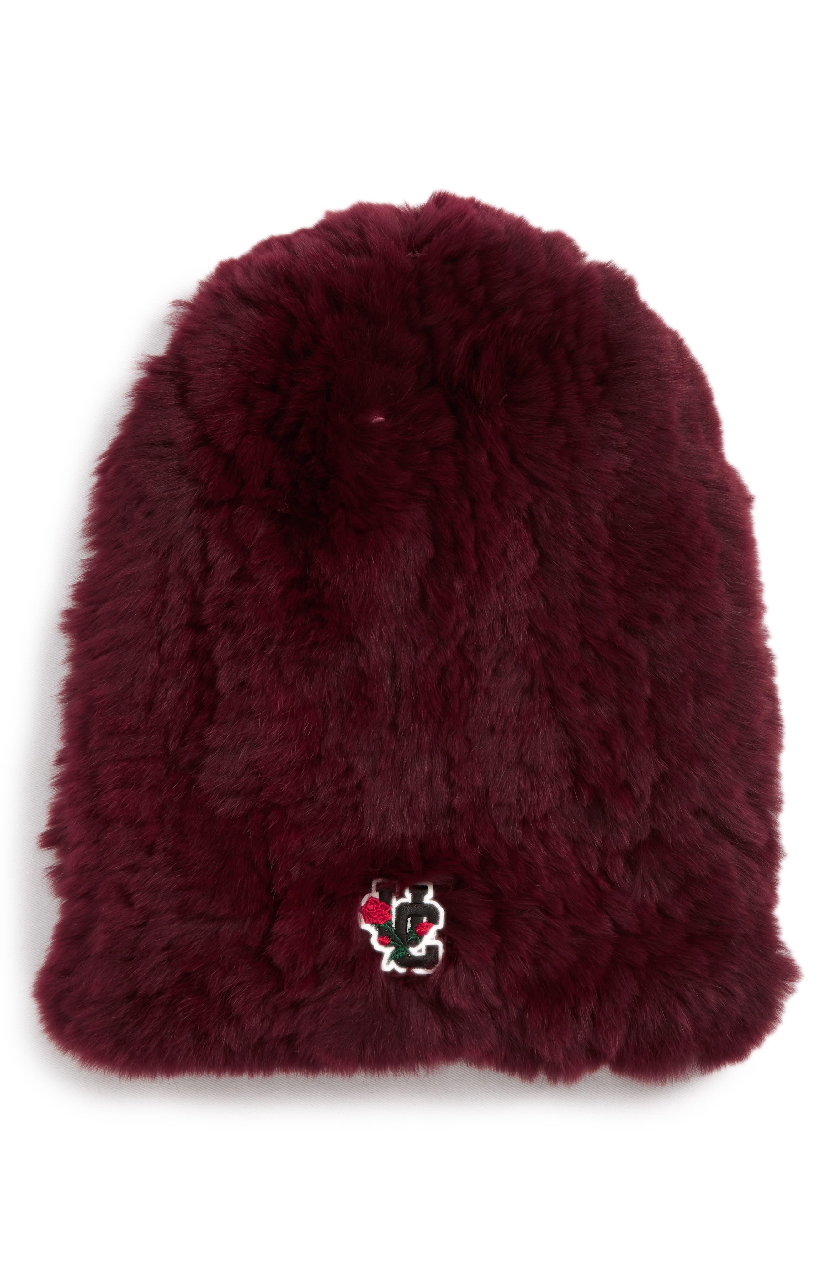 Genuine Rabbit Fur Beanie,                         Main,                         color, D BORDEAUX