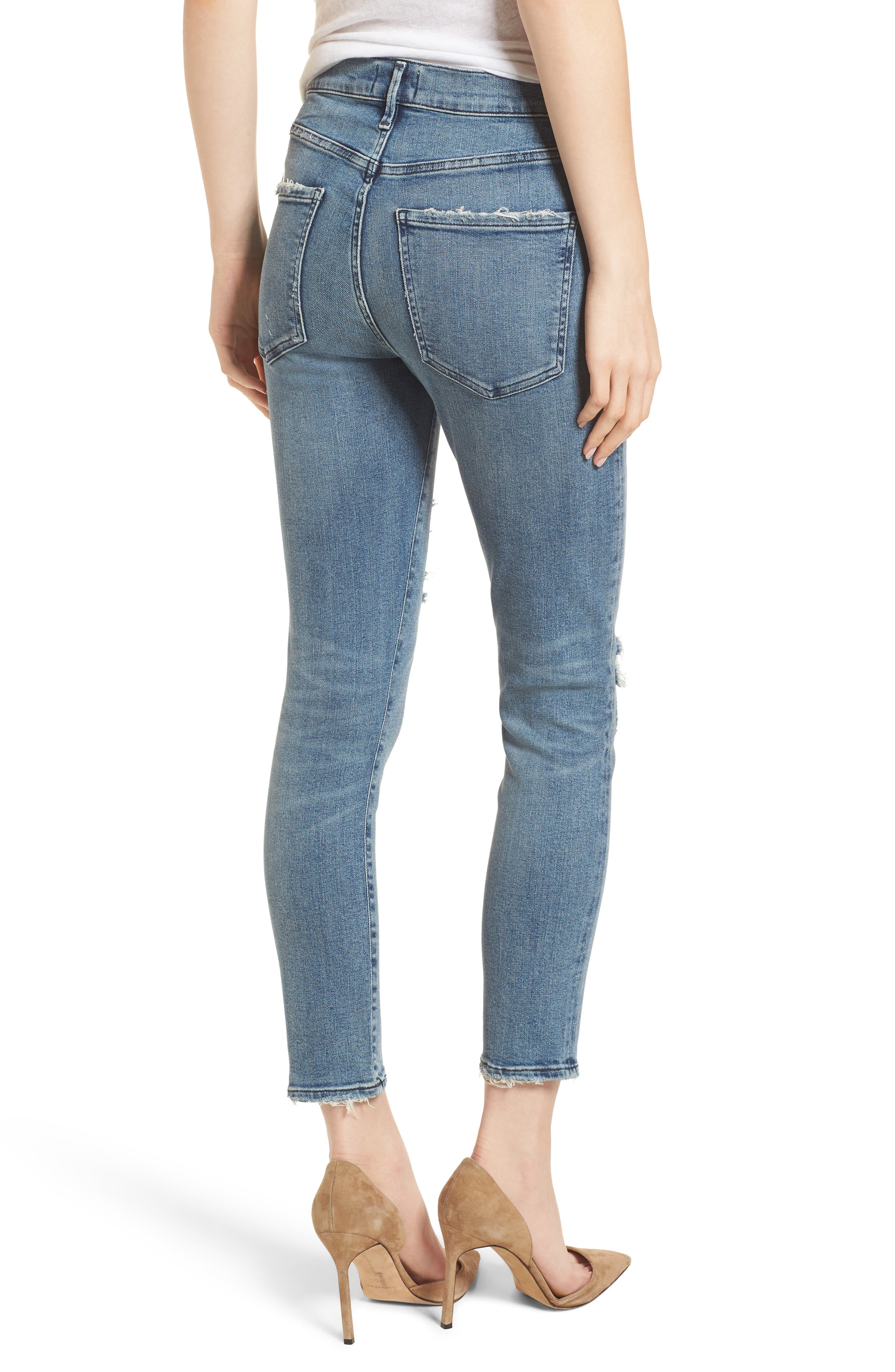 Sophie Ripped High Waist Crop Skinny Jeans,                             Alternate thumbnail 2, color,                             430