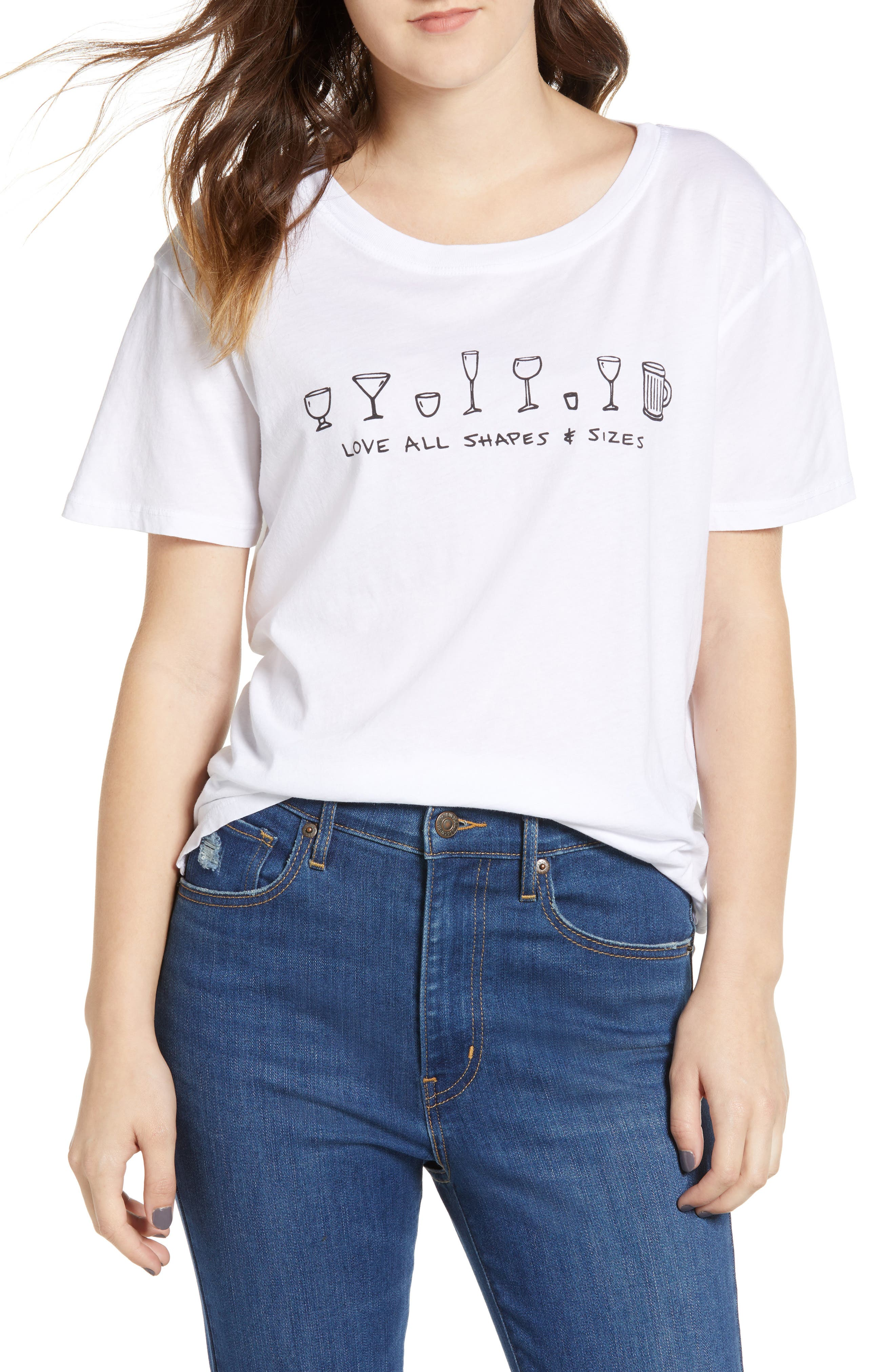 Love All Sizes Tee,                         Main,                         color, WHITE