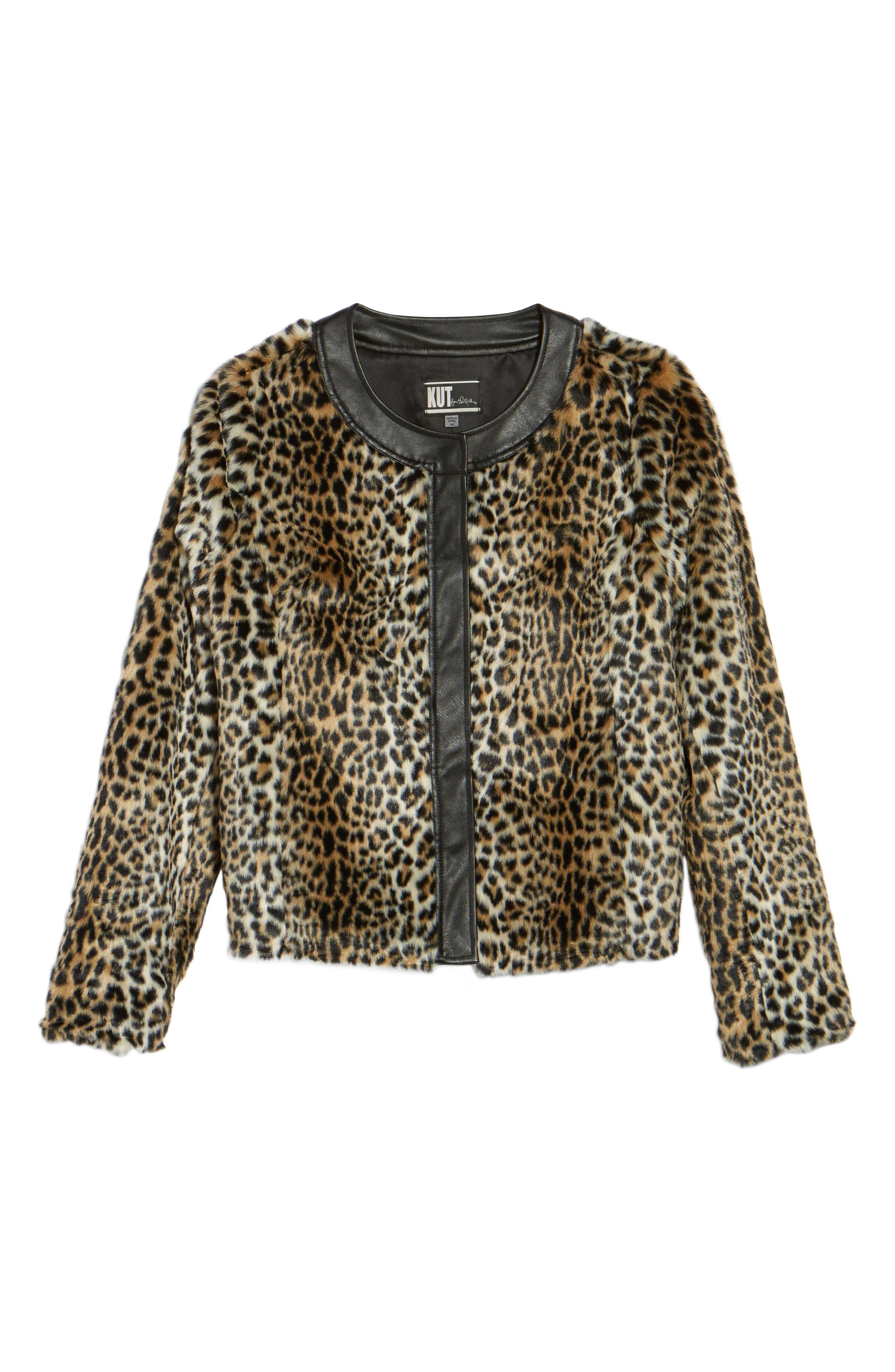Courtney Faux Leopard Fur Jacket,                             Alternate thumbnail 5, color,                             209