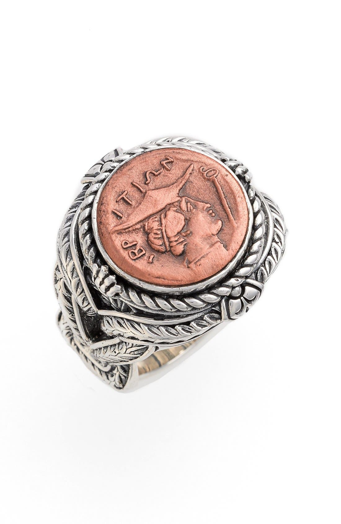 'Aeolus - Hermes' Coin Ring,                             Main thumbnail 1, color,                             COPPER/ SILVER