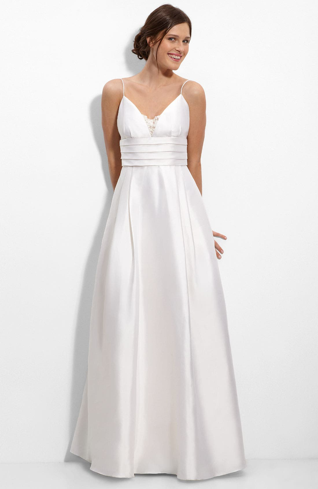 ELIZA J Beaded Lace Inset Silk Mikado Gown, Main, color, 900