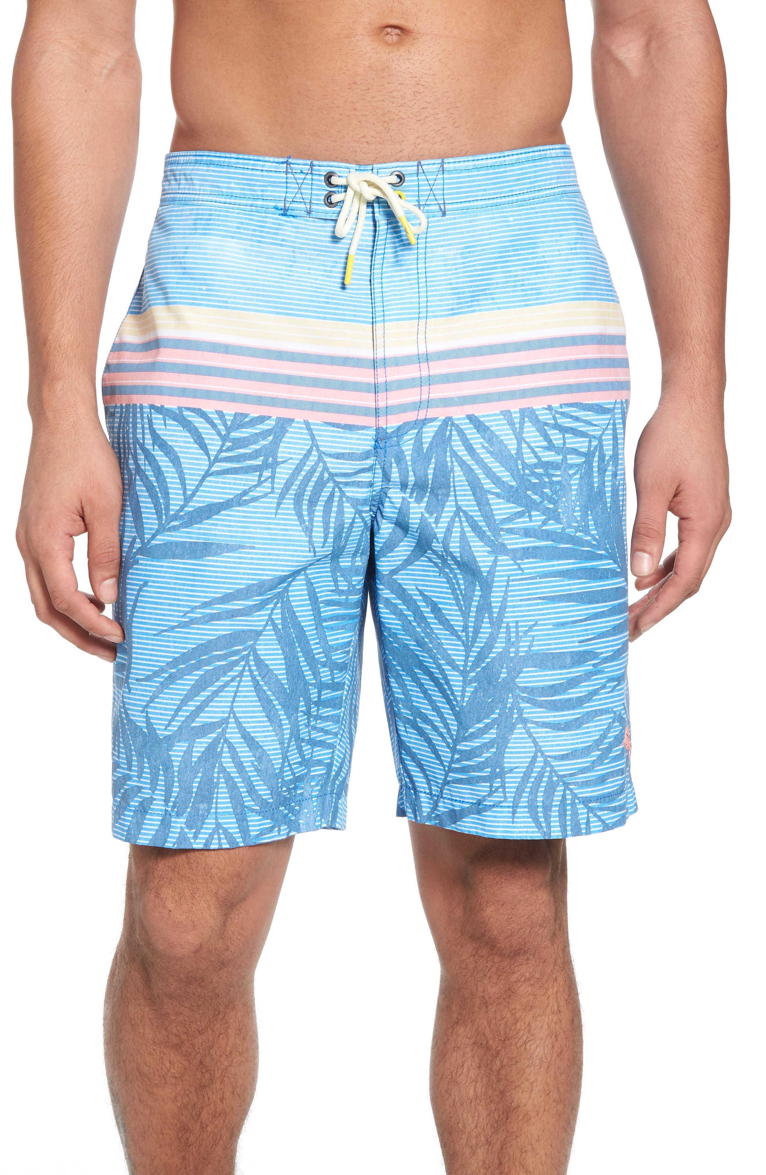 TOMMY BAHAMA Baja Fronds & Stripes Board Shorts, Main, color, 400