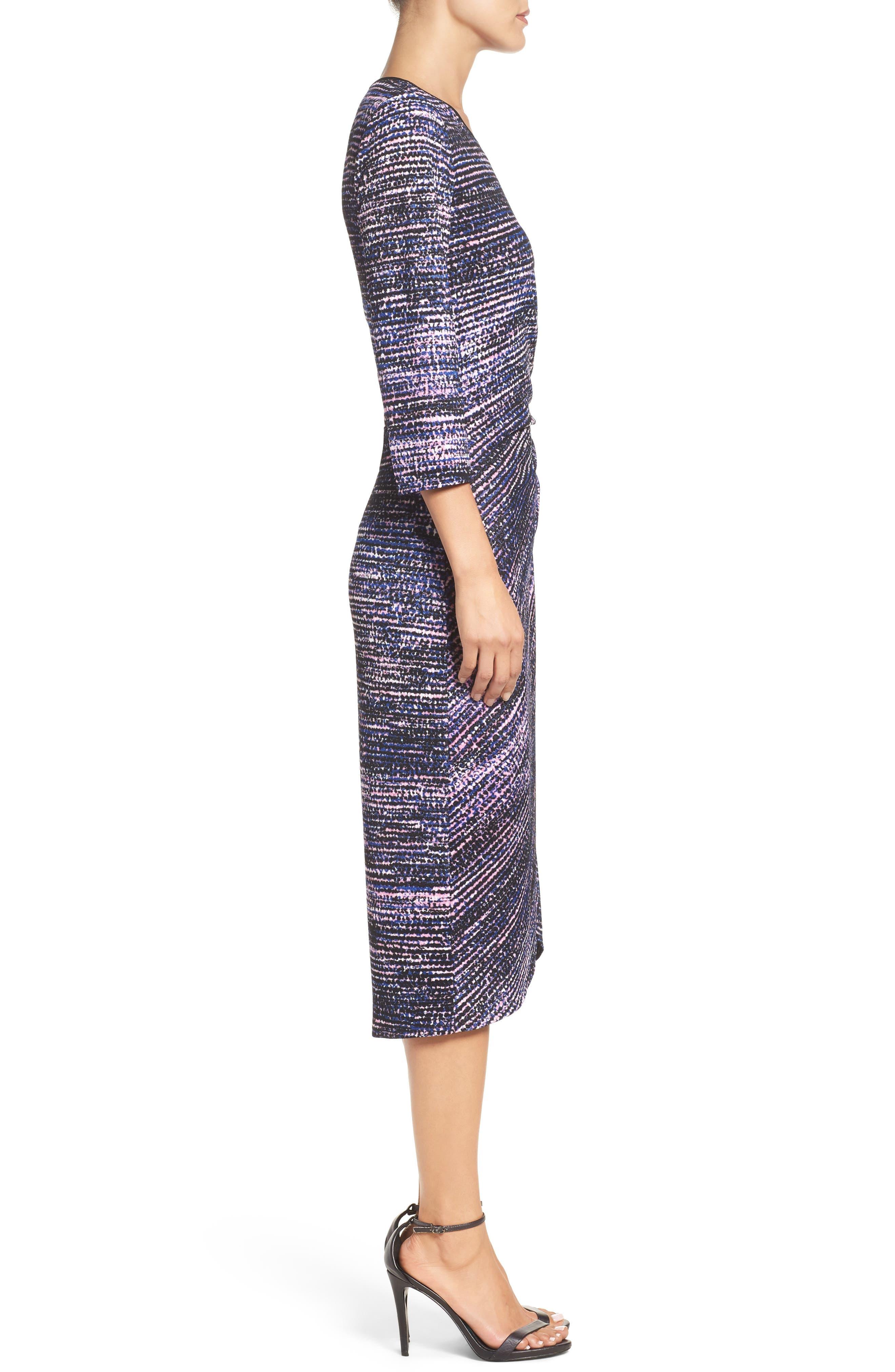 Faux Wrap Dress,                             Alternate thumbnail 3, color,                             654