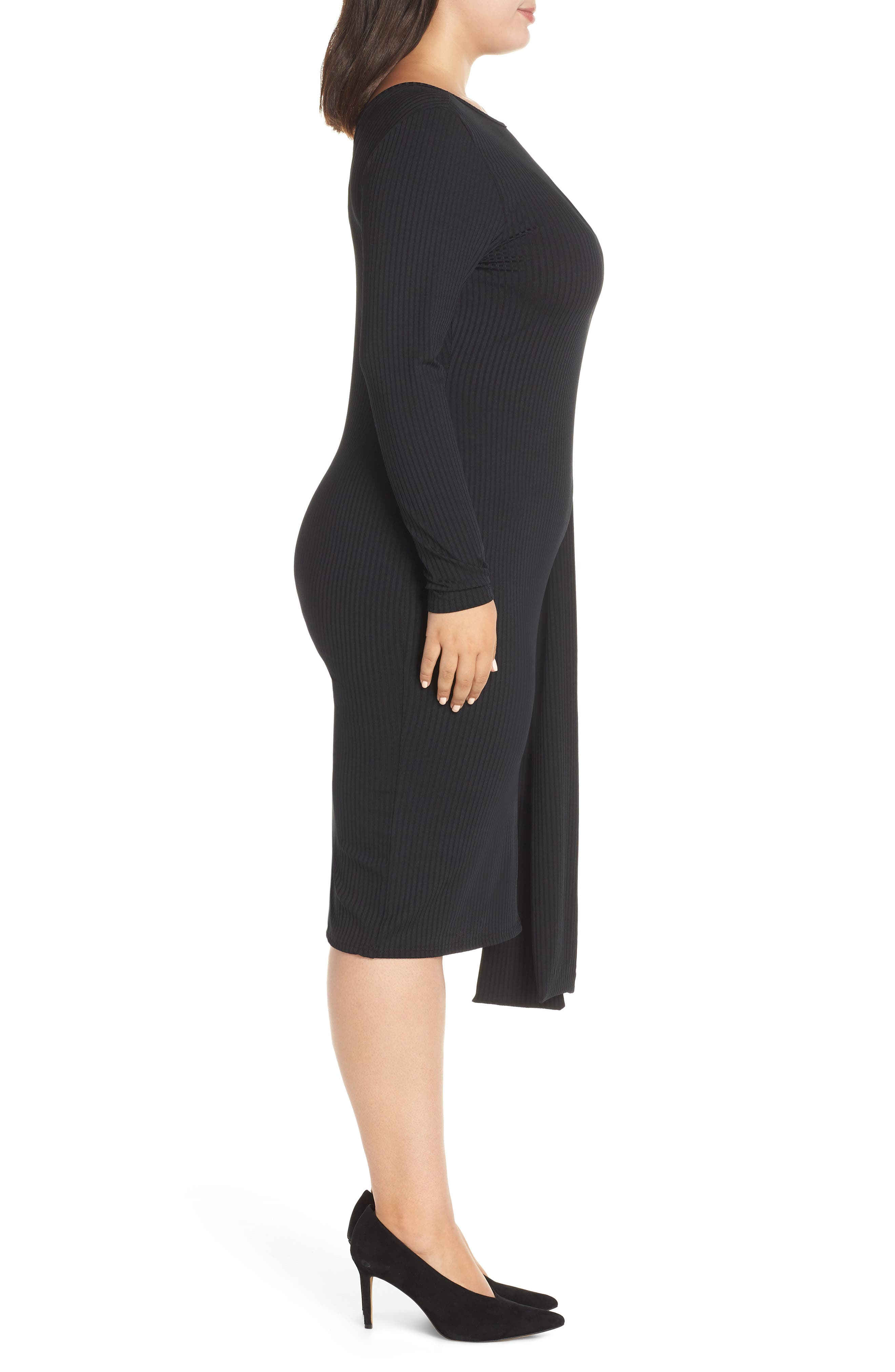 Ribbed Tie Body-Con Dress,                             Alternate thumbnail 3, color,                             001