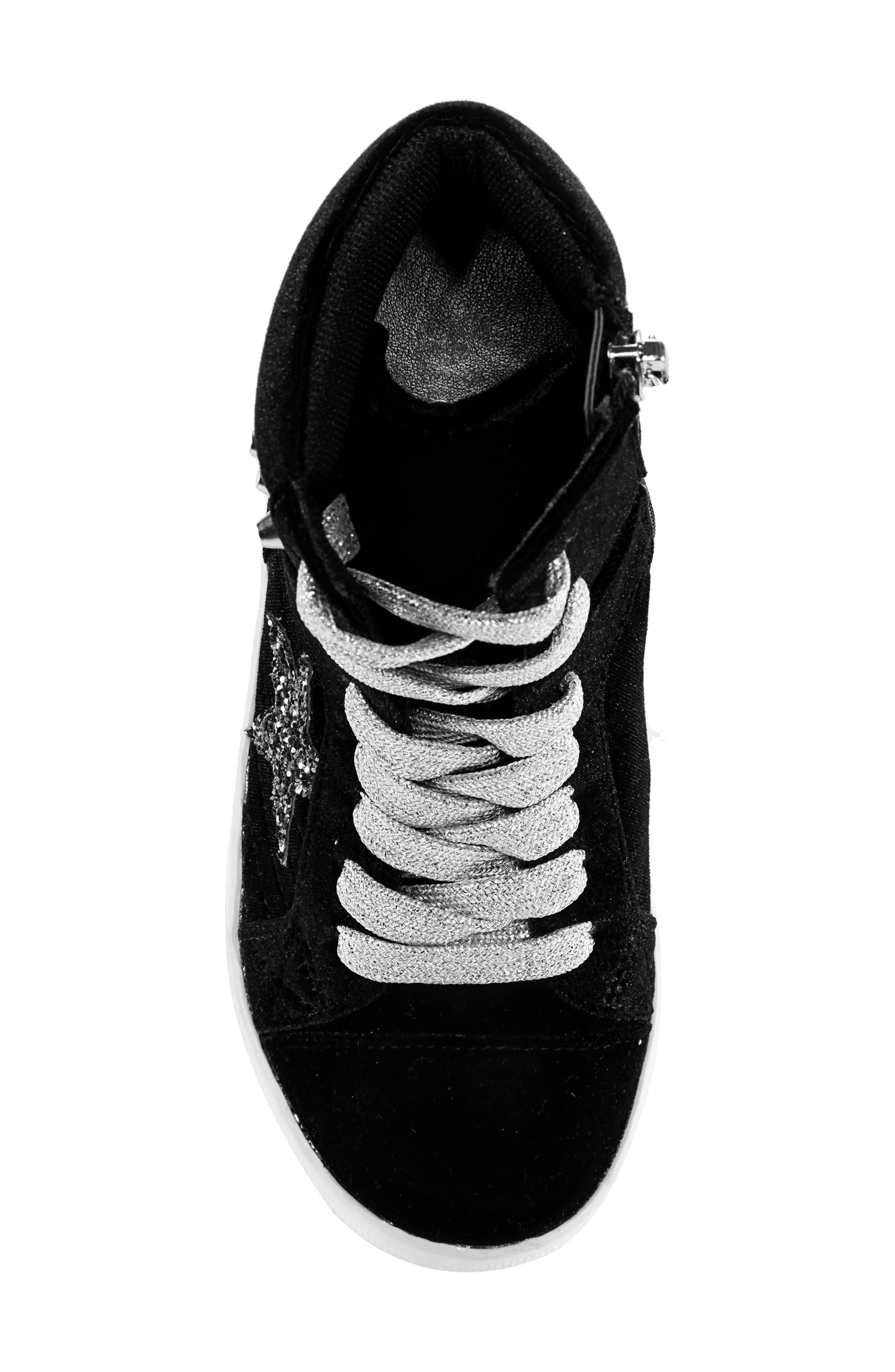 Ima Studded High Top Sneaker,                             Alternate thumbnail 5, color,                             BLACK VELVET