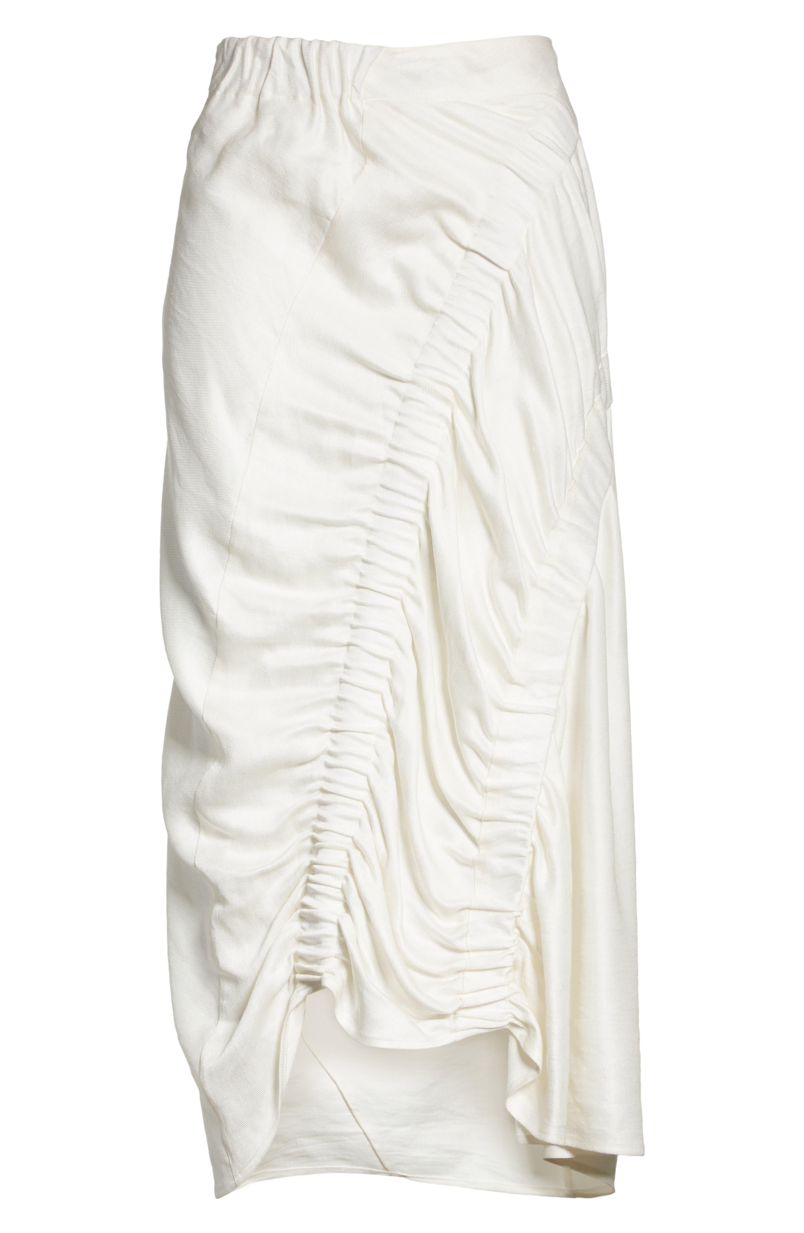 Ruched Drape Skirt,                             Alternate thumbnail 6, color,                             100