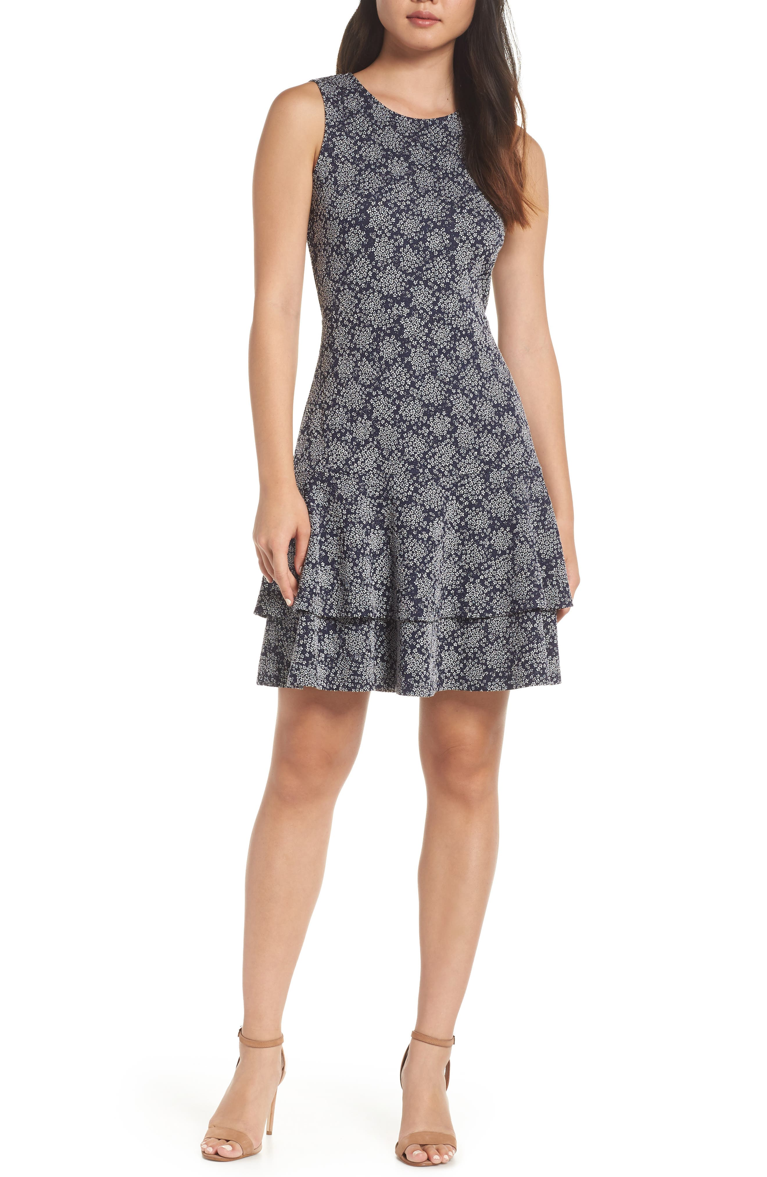 Tiered Fit & Flare Dress,                             Main thumbnail 1, color,                             TRUE NAVY/ WHITE