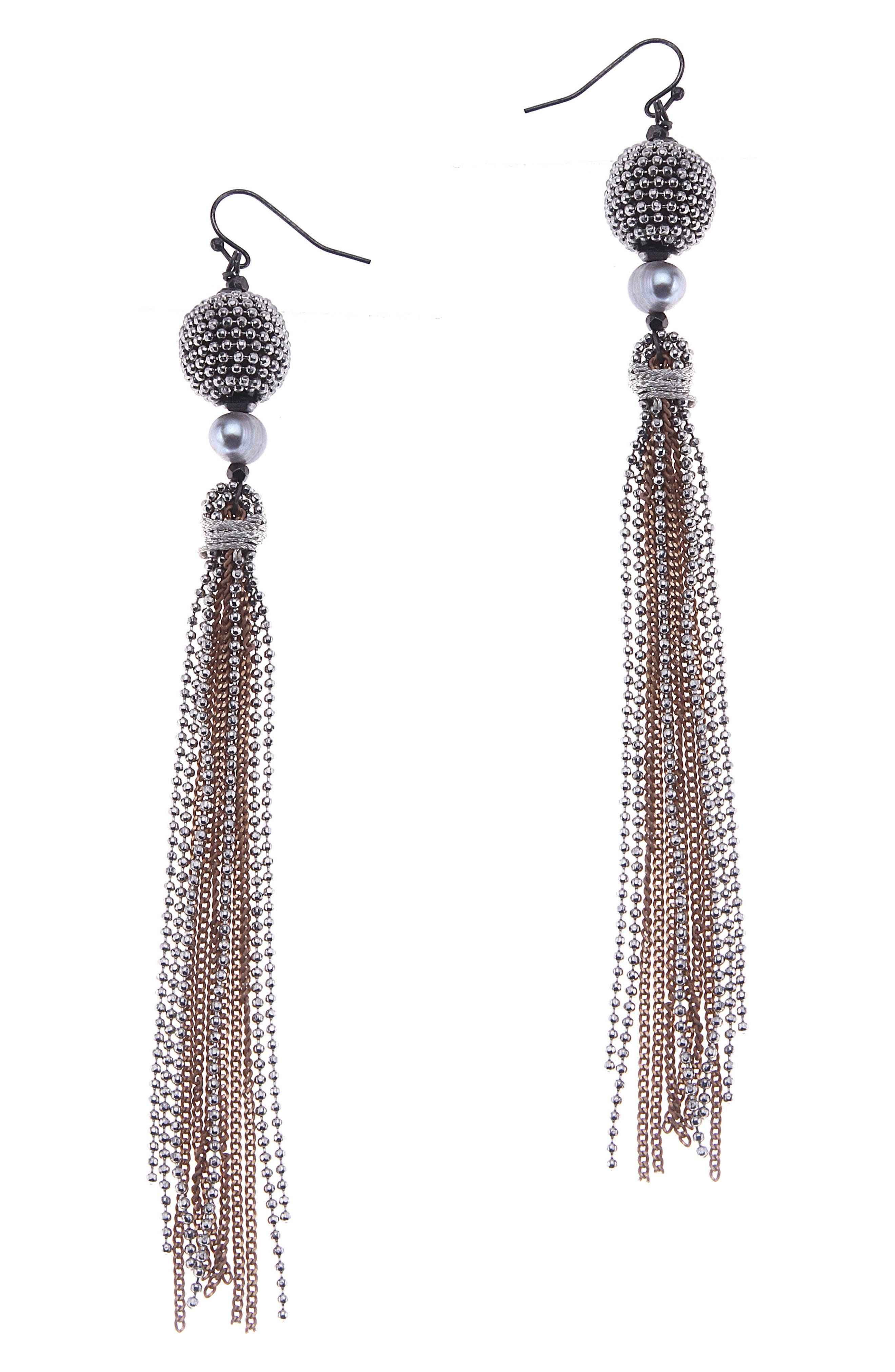 Chain Tassel Earrings,                             Main thumbnail 1, color,