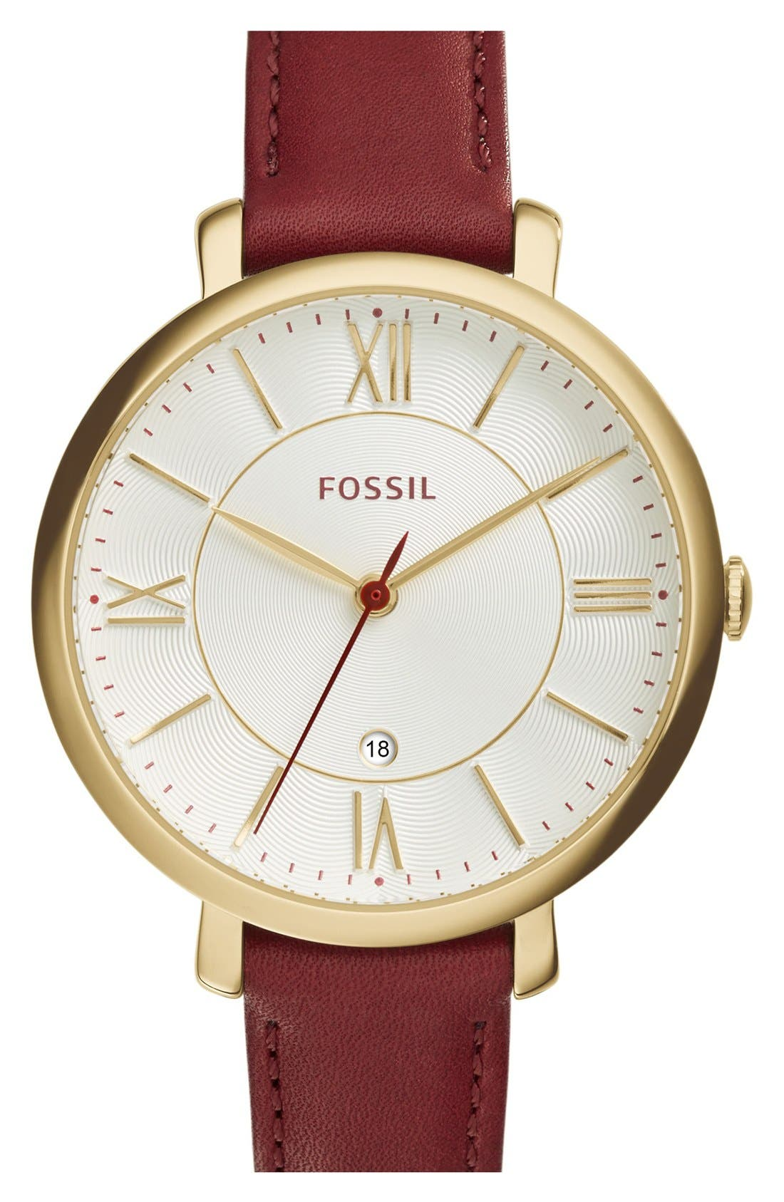 'Jacqueline' Round Leather Strap Watch, 36mm,                             Main thumbnail 18, color,
