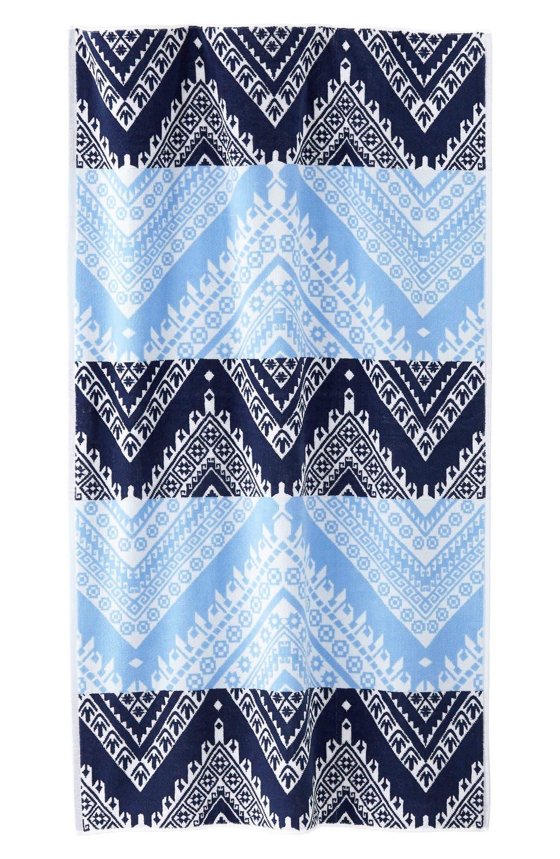 'Koh' Chevron Wave Pattern Beach Towel,                             Main thumbnail 1, color,                             400