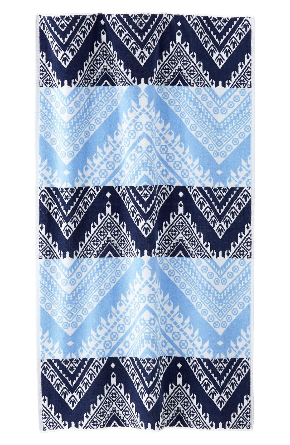 'Koh' Chevron Wave Pattern Beach Towel,                         Main,                         color, 400