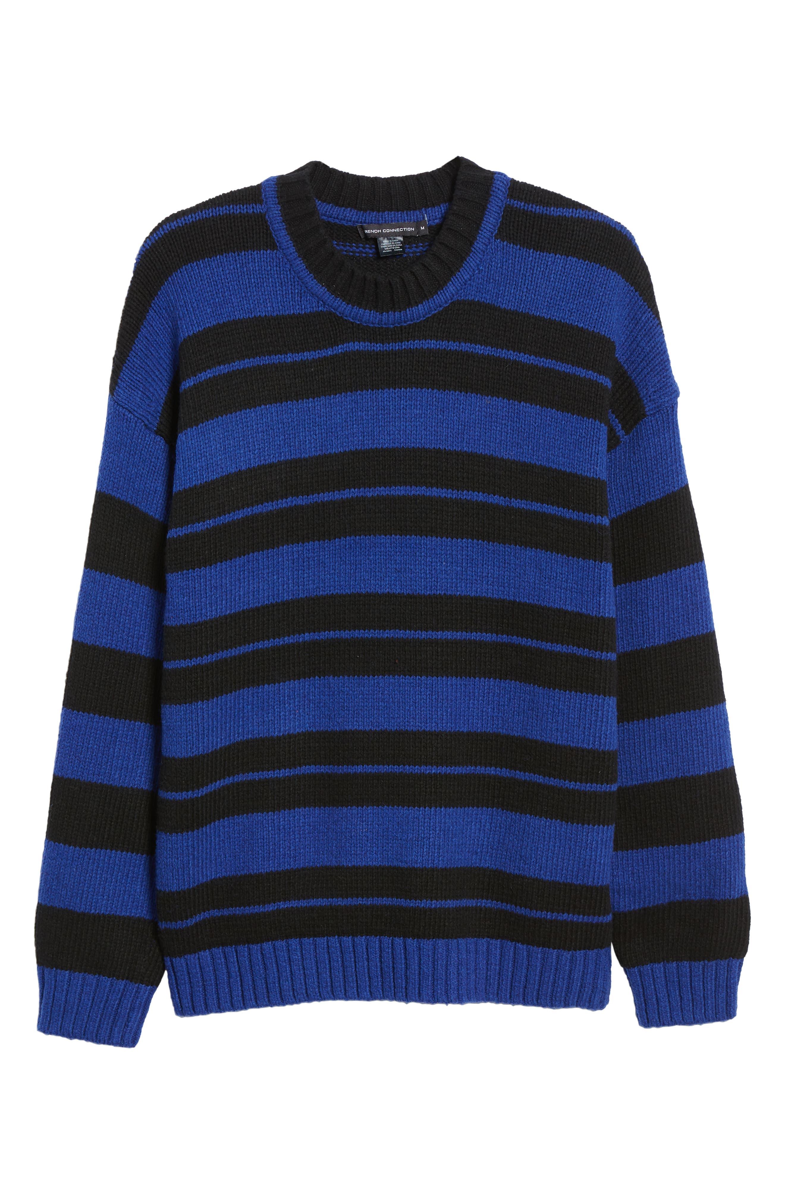 Regular Fit Varsity Stripe Sweater,                             Alternate thumbnail 6, color,                             FLURO BLUE BLACK