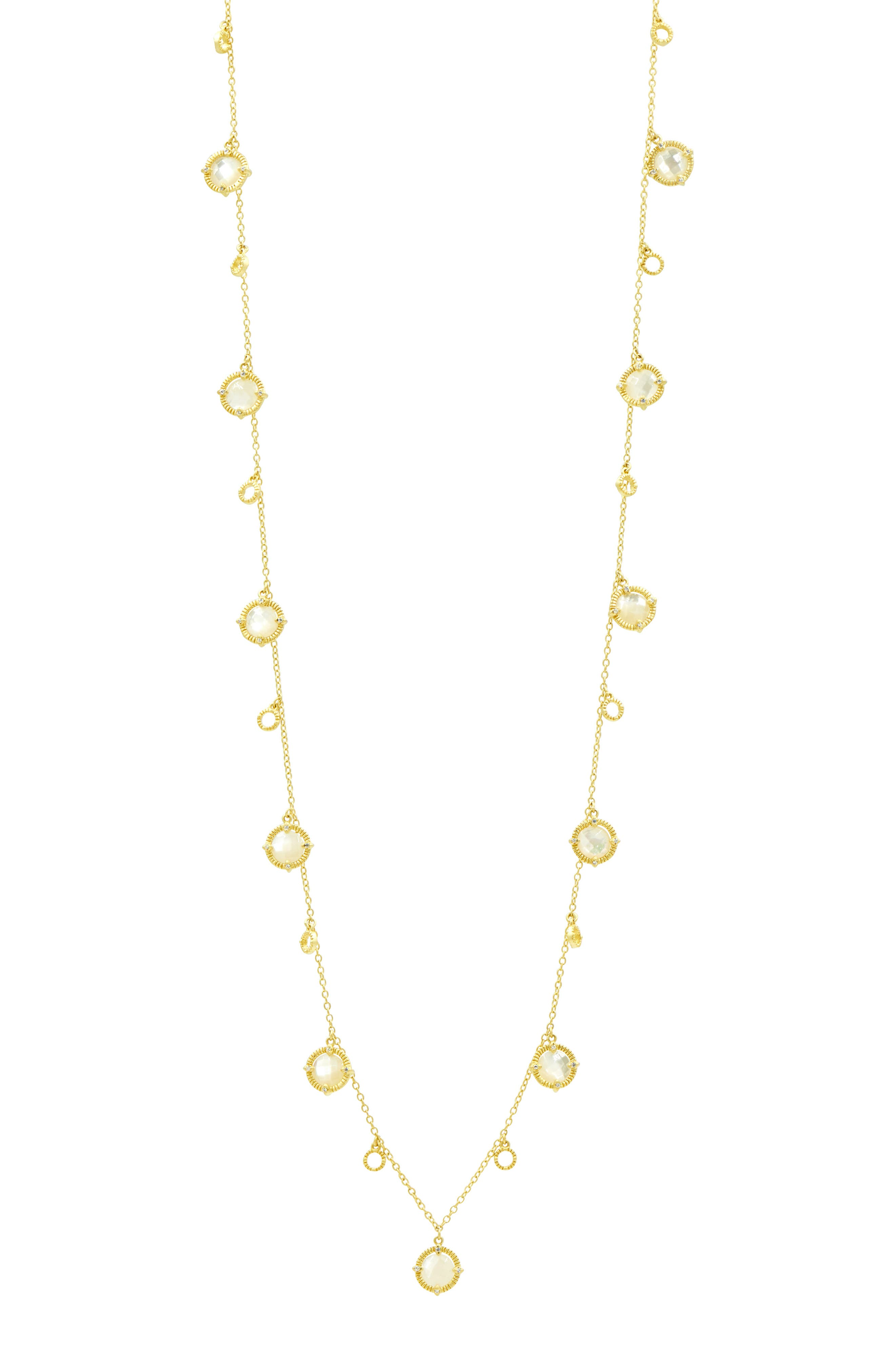 FREIDA ROTHMAN Color Theory Stone Droplet Necklace in Mother Of Pearl/ Gold