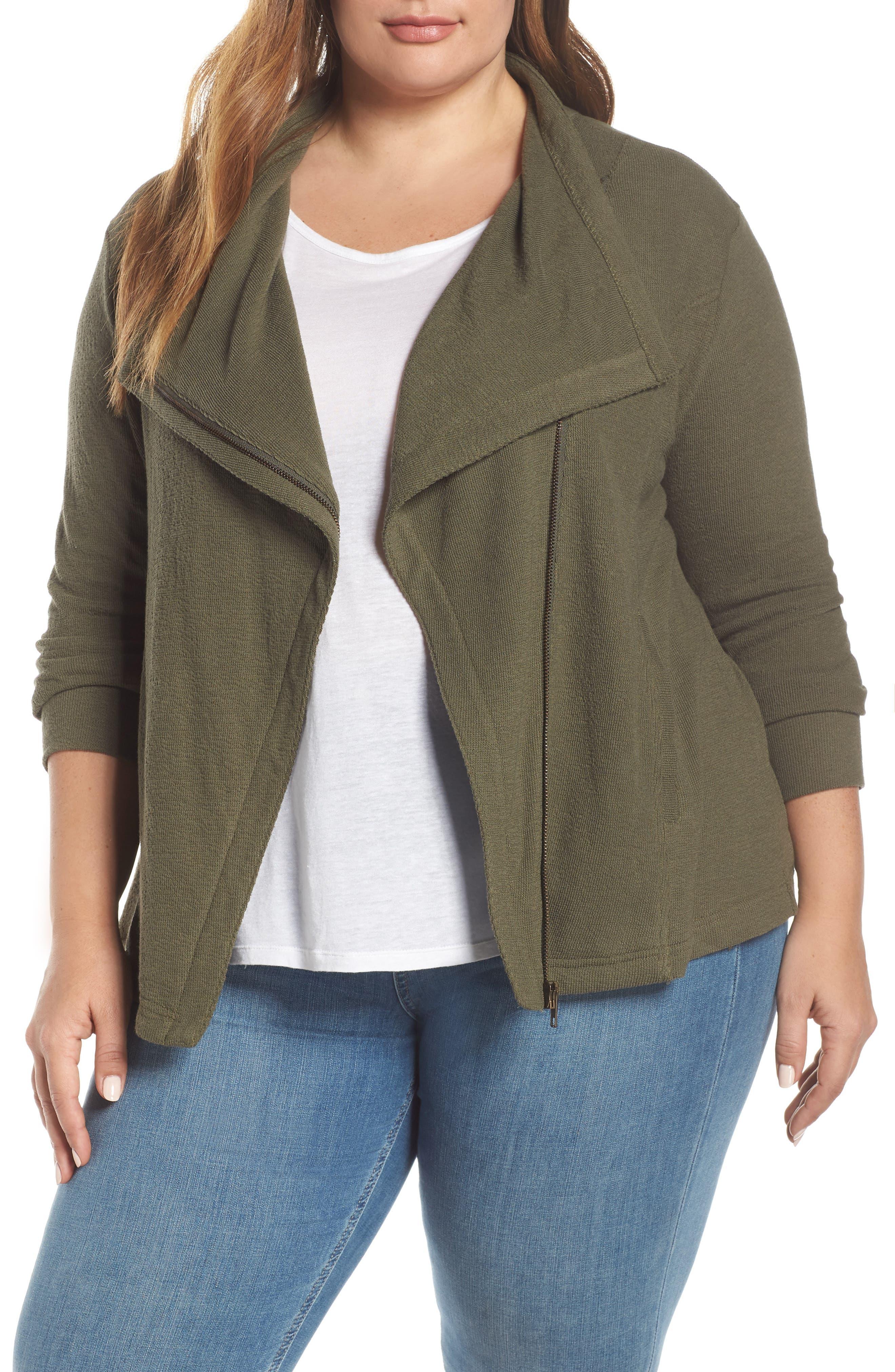Knit Moto Jacket, Main, color, OLIVE SARMA