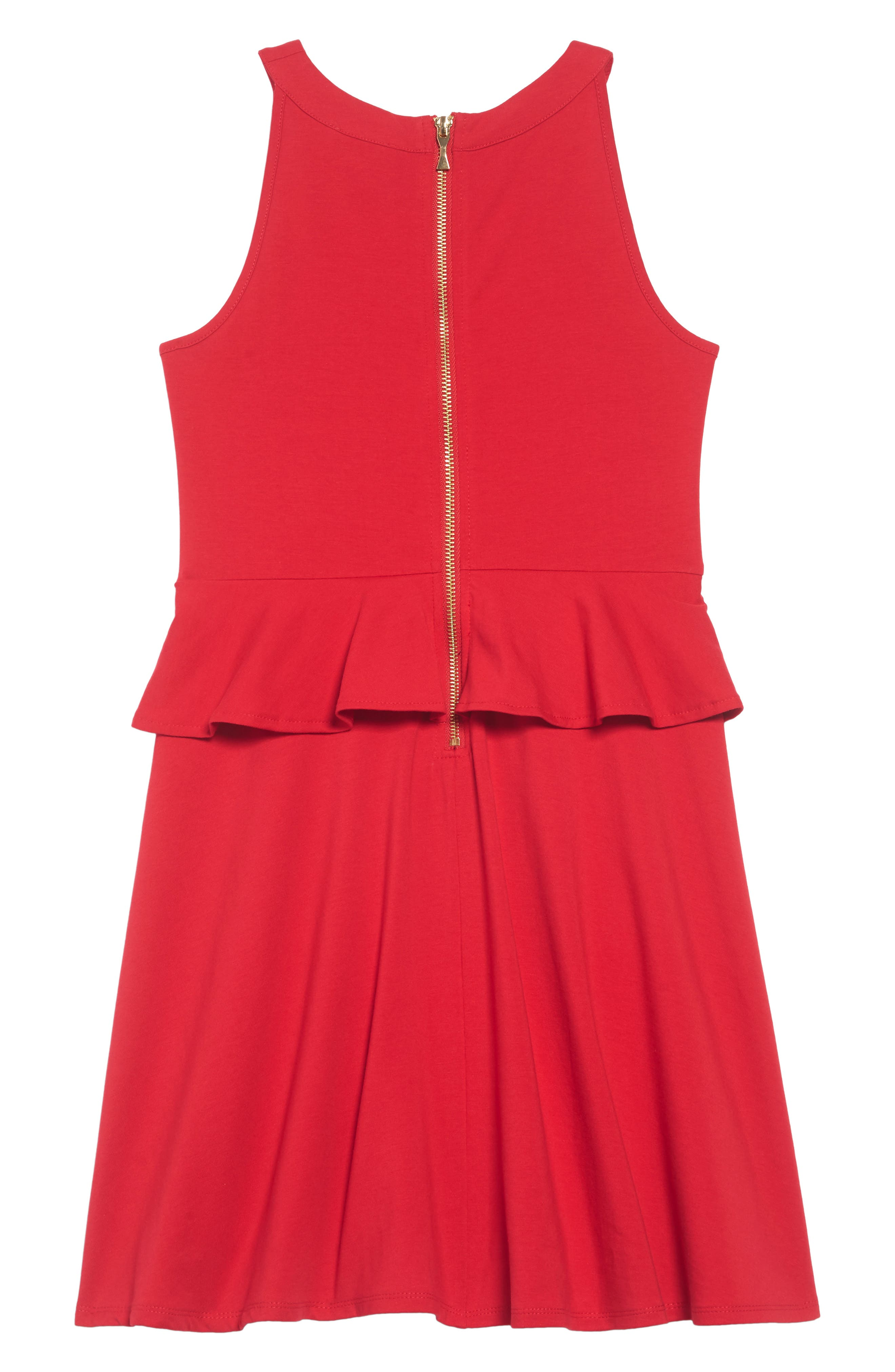 peplum dress,                             Alternate thumbnail 2, color,                             CHARM RED