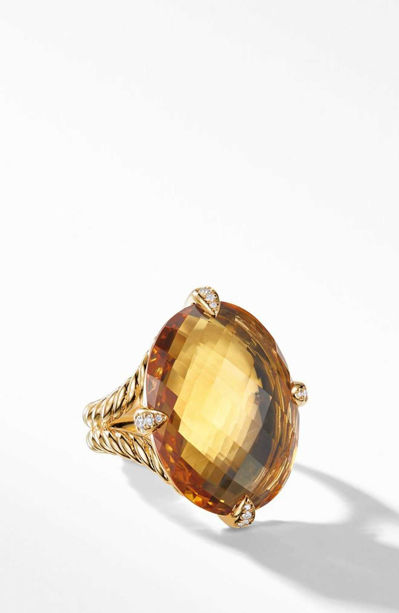 Chatelaine<sup>®</sup> 18k Gold Statement Ring with Honey Quartz & Diamonds, Main, color, GOLD/ DIAMOND/ HONEY QUARTZ