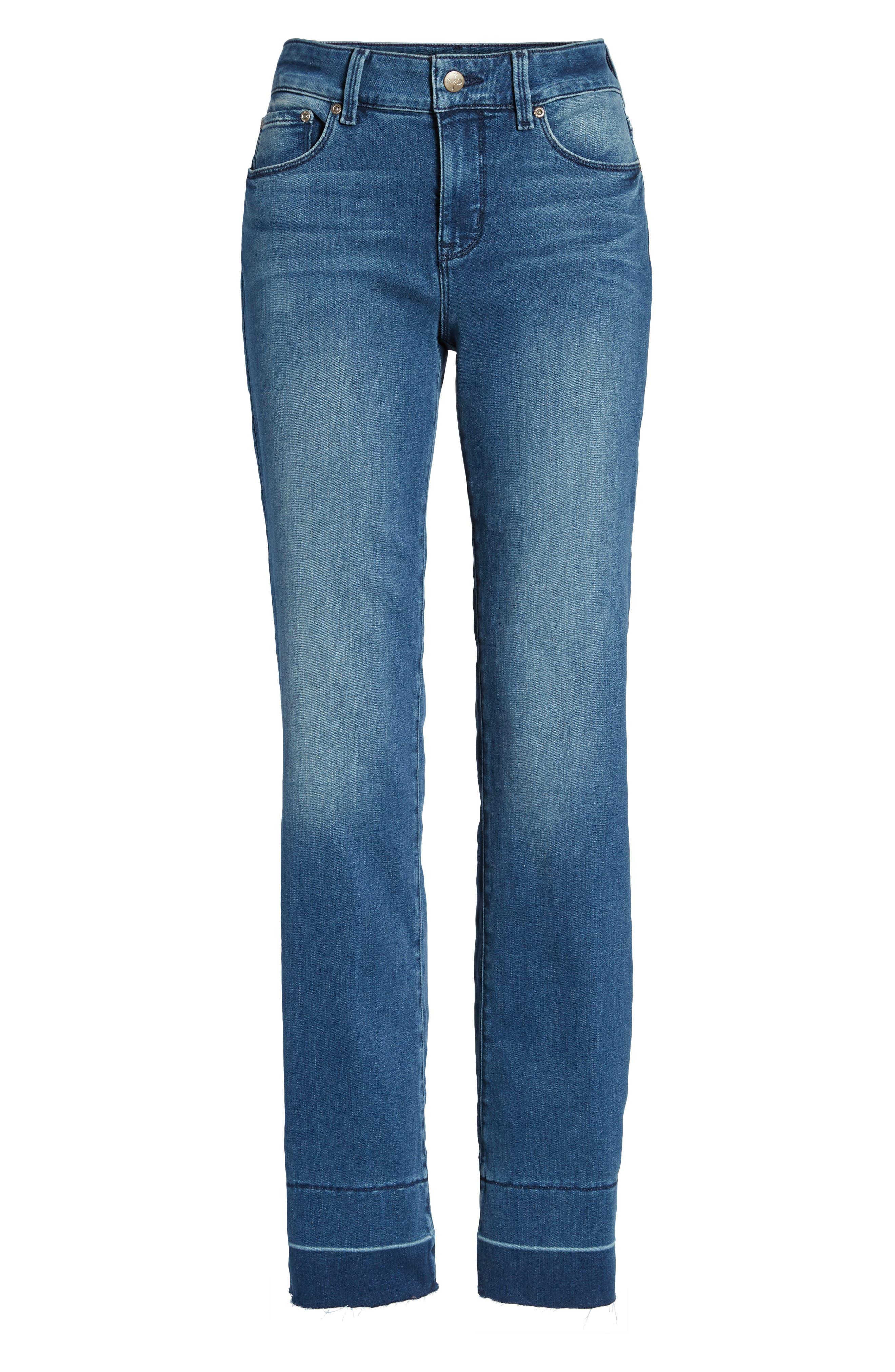 Marilyn Release Hem Stretch Straight Leg Jeans,                             Alternate thumbnail 7, color,                             410