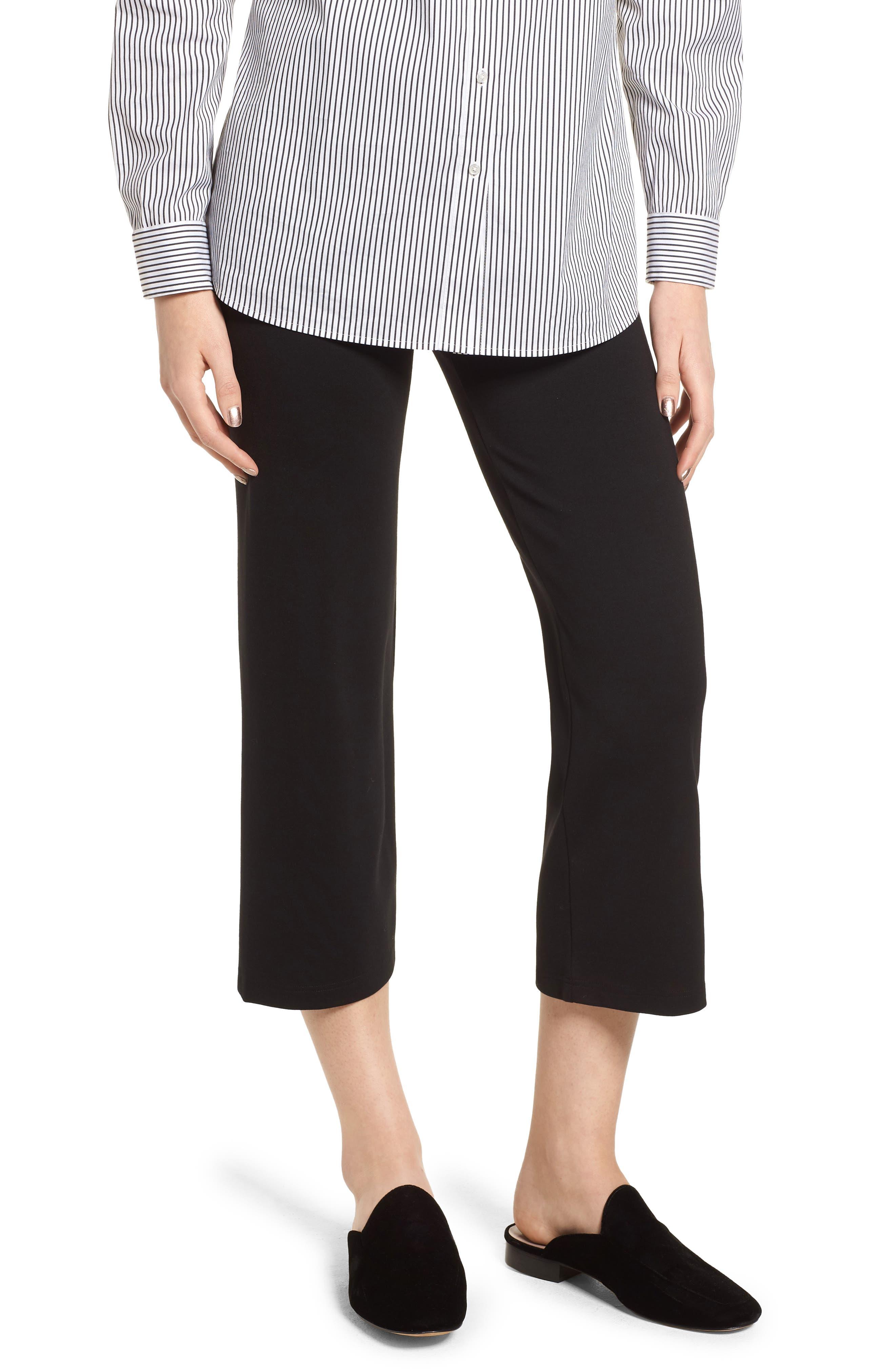 Wide Leg Crop Leggings,                         Main,                         color, BLACK