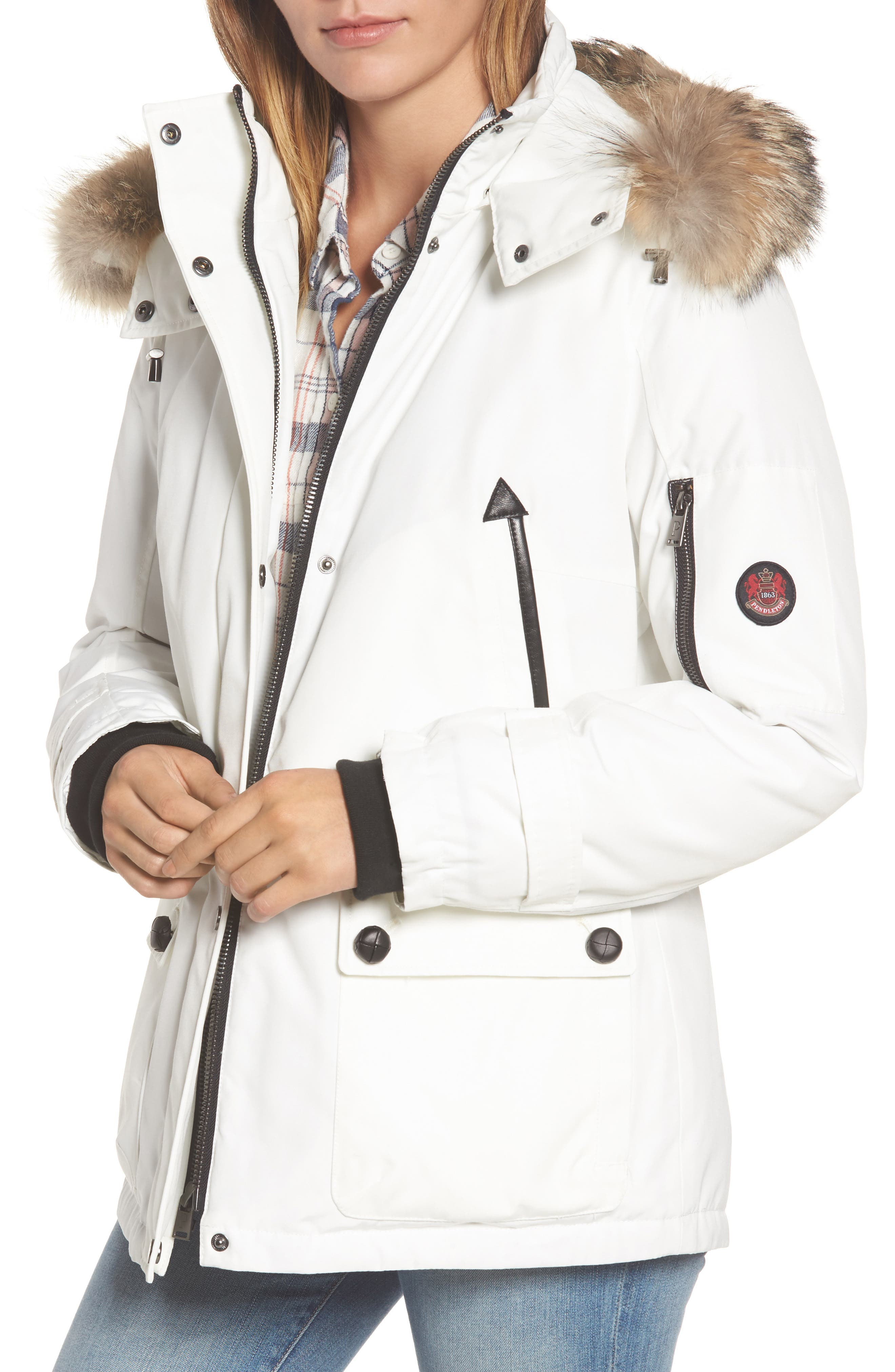 Bachelor Water Repellent Hooded Down Parka with Genuine Coyote Fur Trim,                             Main thumbnail 2, color,