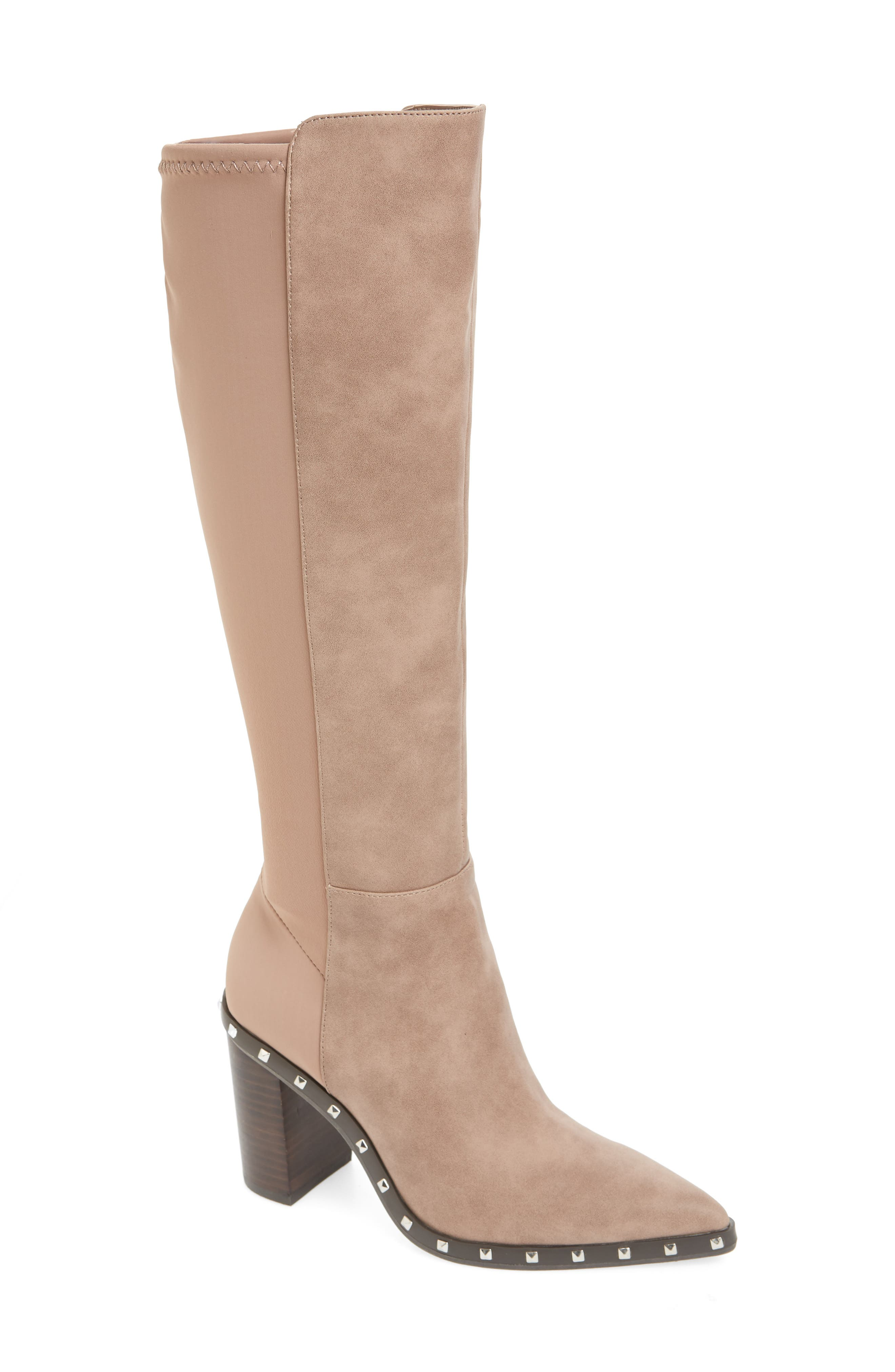 Charles By Charles David Studded Knee High Stretch Boot, Beige