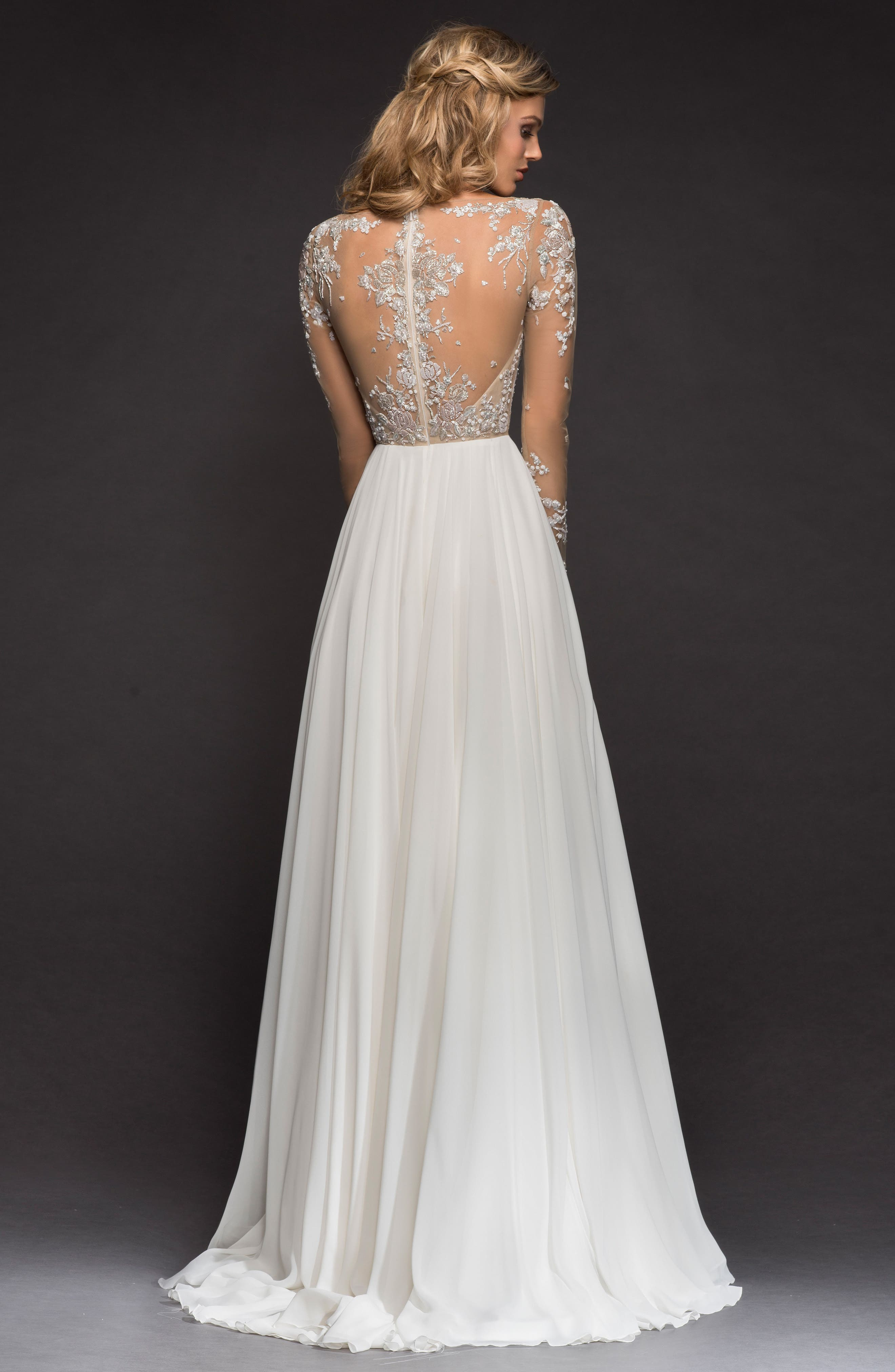 Pascal Embellished Net & Chiffon A-Line Gown,                             Alternate thumbnail 2, color,                             IVORY