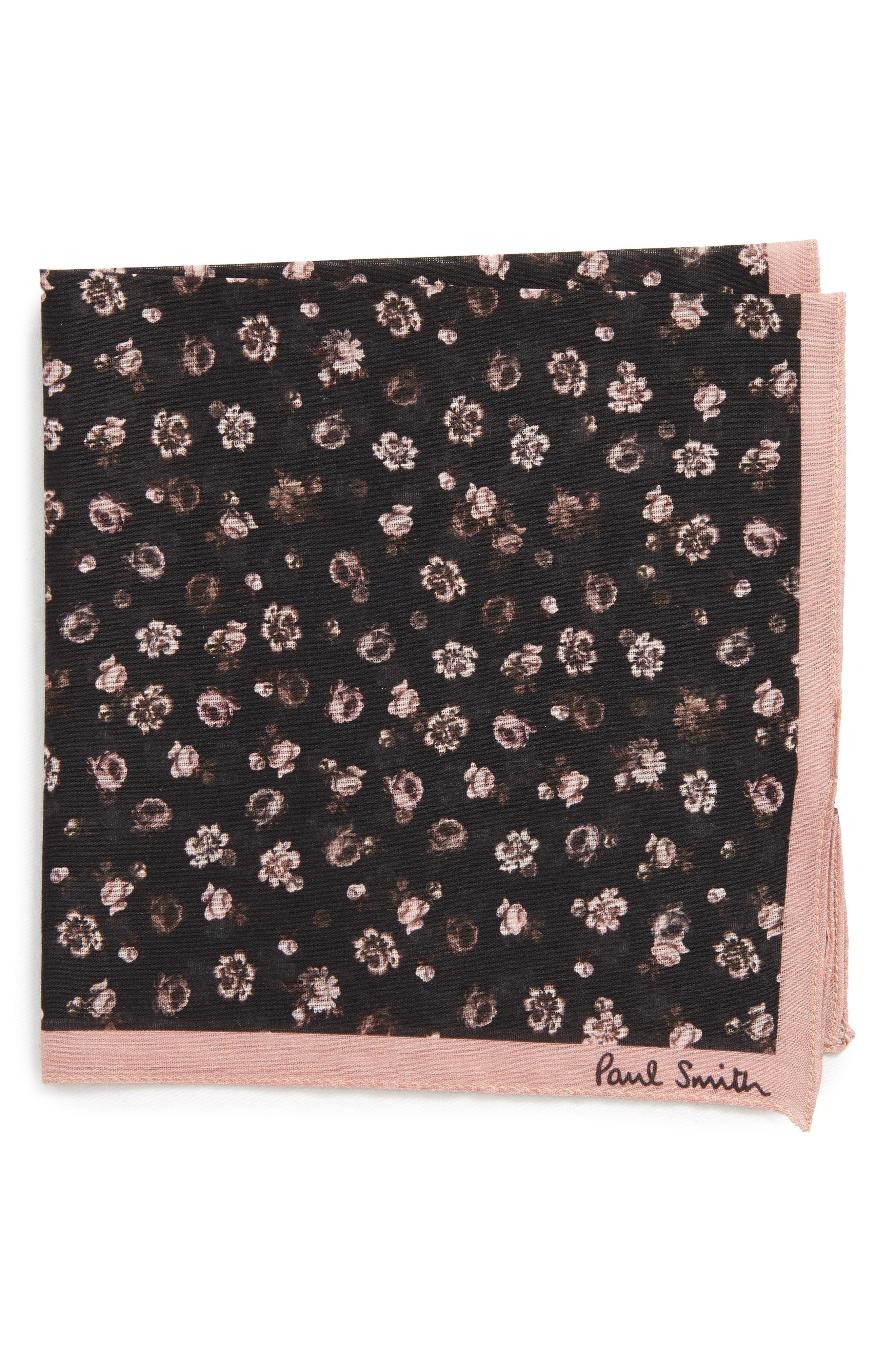 Floral Cotton Pocket Square,                             Main thumbnail 1, color,                             001