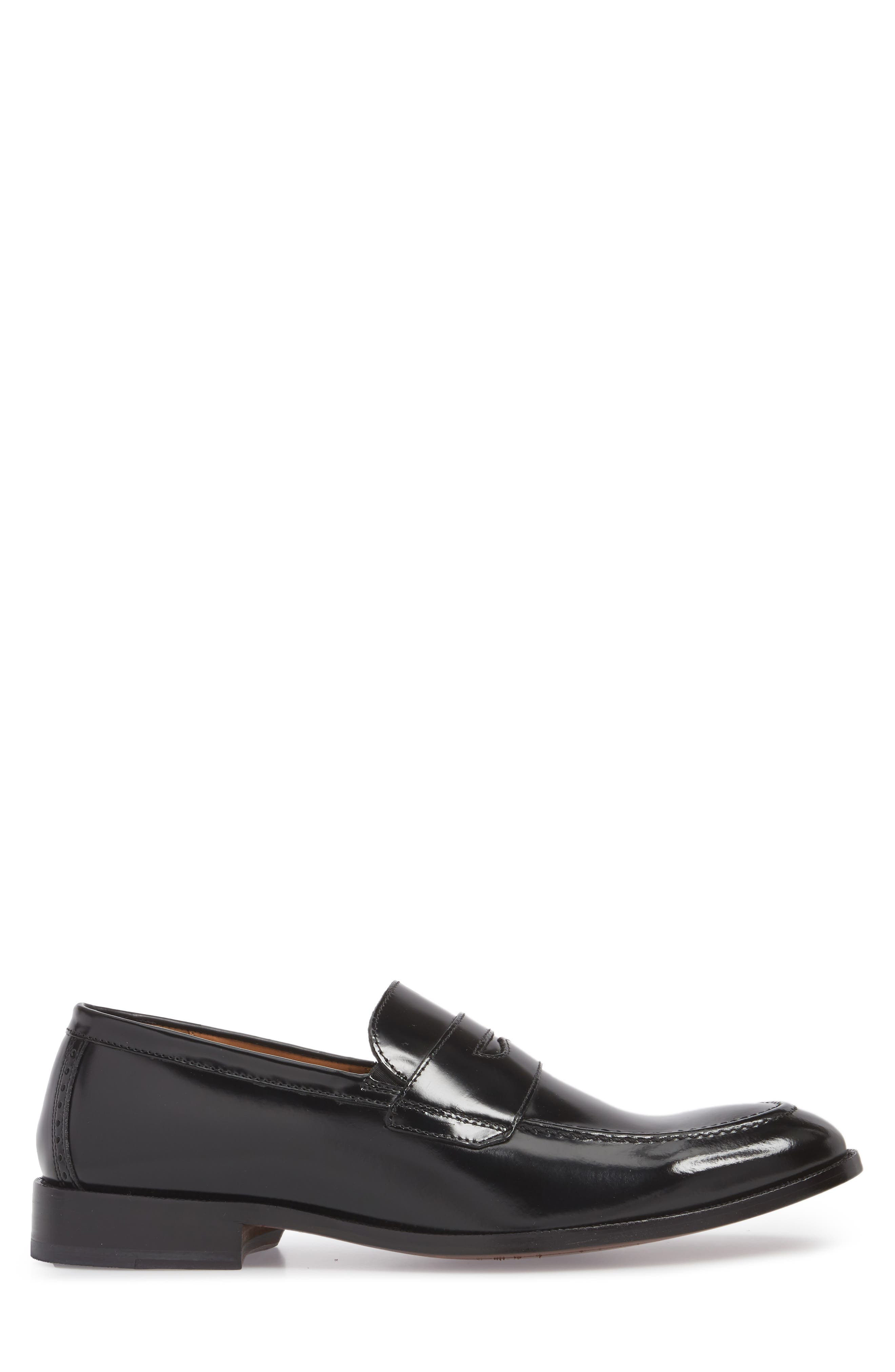 Bradford Penny Loafer,                             Alternate thumbnail 3, color,                             BLACK LEATHER