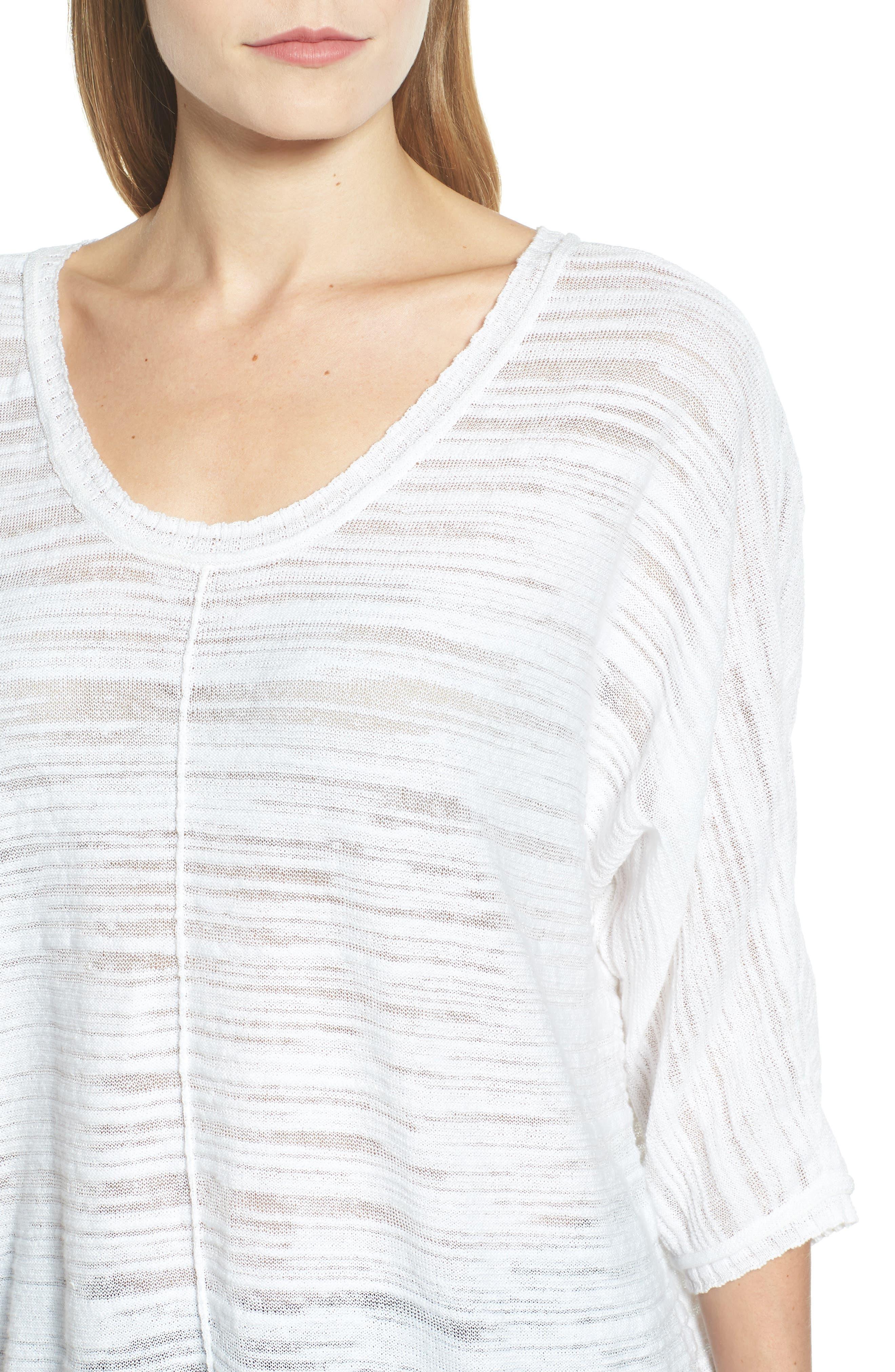 NIC+ZOE,                             Open Breeze Linen Cotton Blend Sweater,                             Alternate thumbnail 4, color,                             123