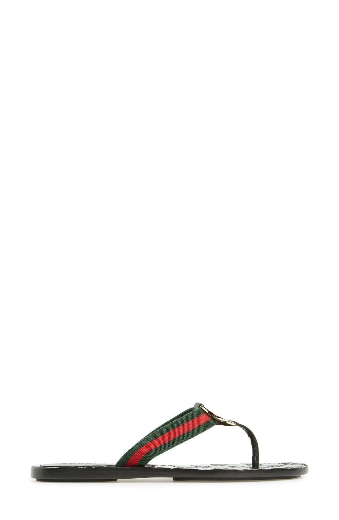 GUCCI,                             'GG' Logo Sandal,                             Alternate thumbnail 4, color,                             NERO