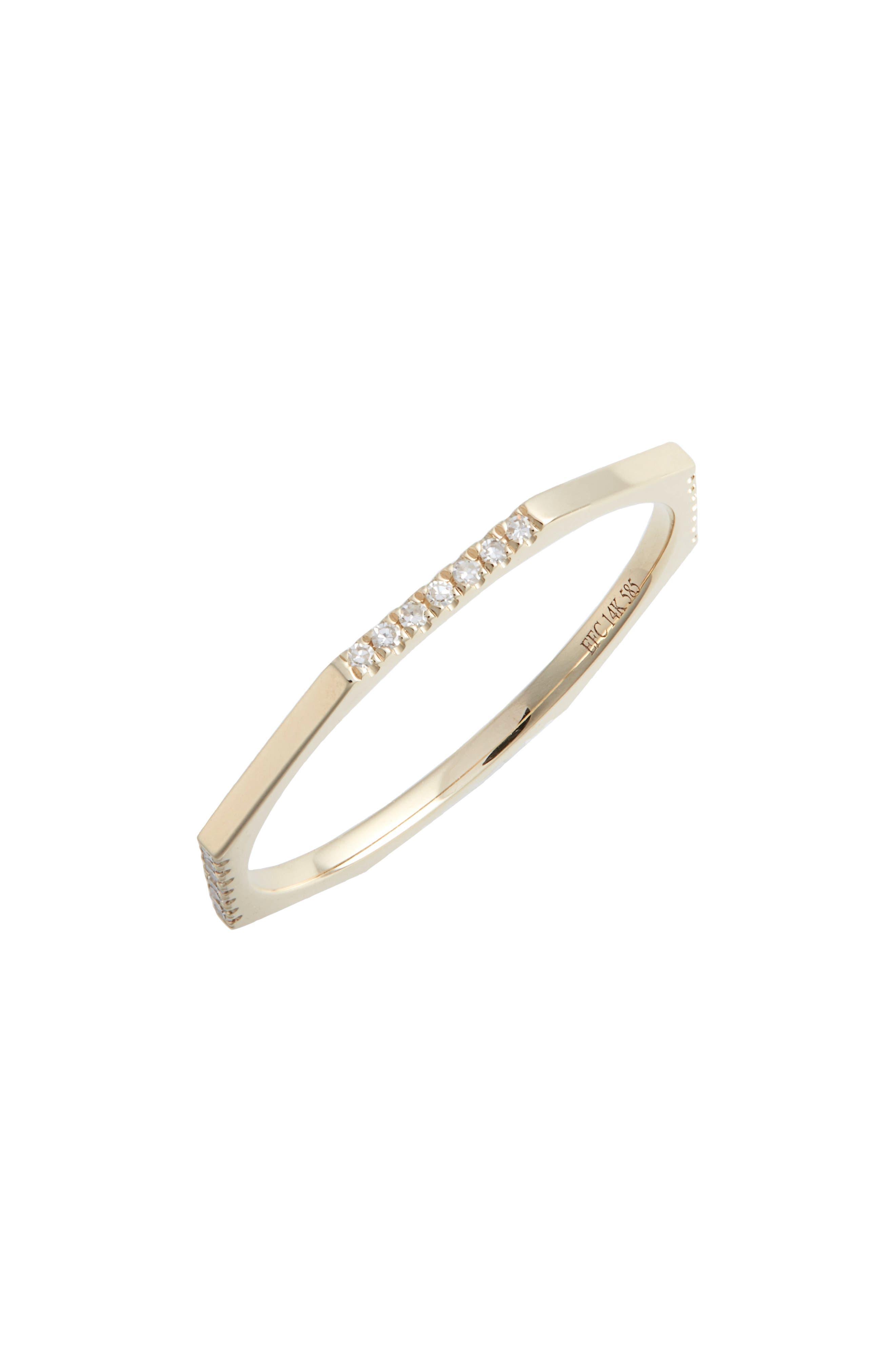 EF COLLECTION,                             Half Diamond Octagon Ring,                             Main thumbnail 1, color,                             YELLOW GOLD/ DIAMOND
