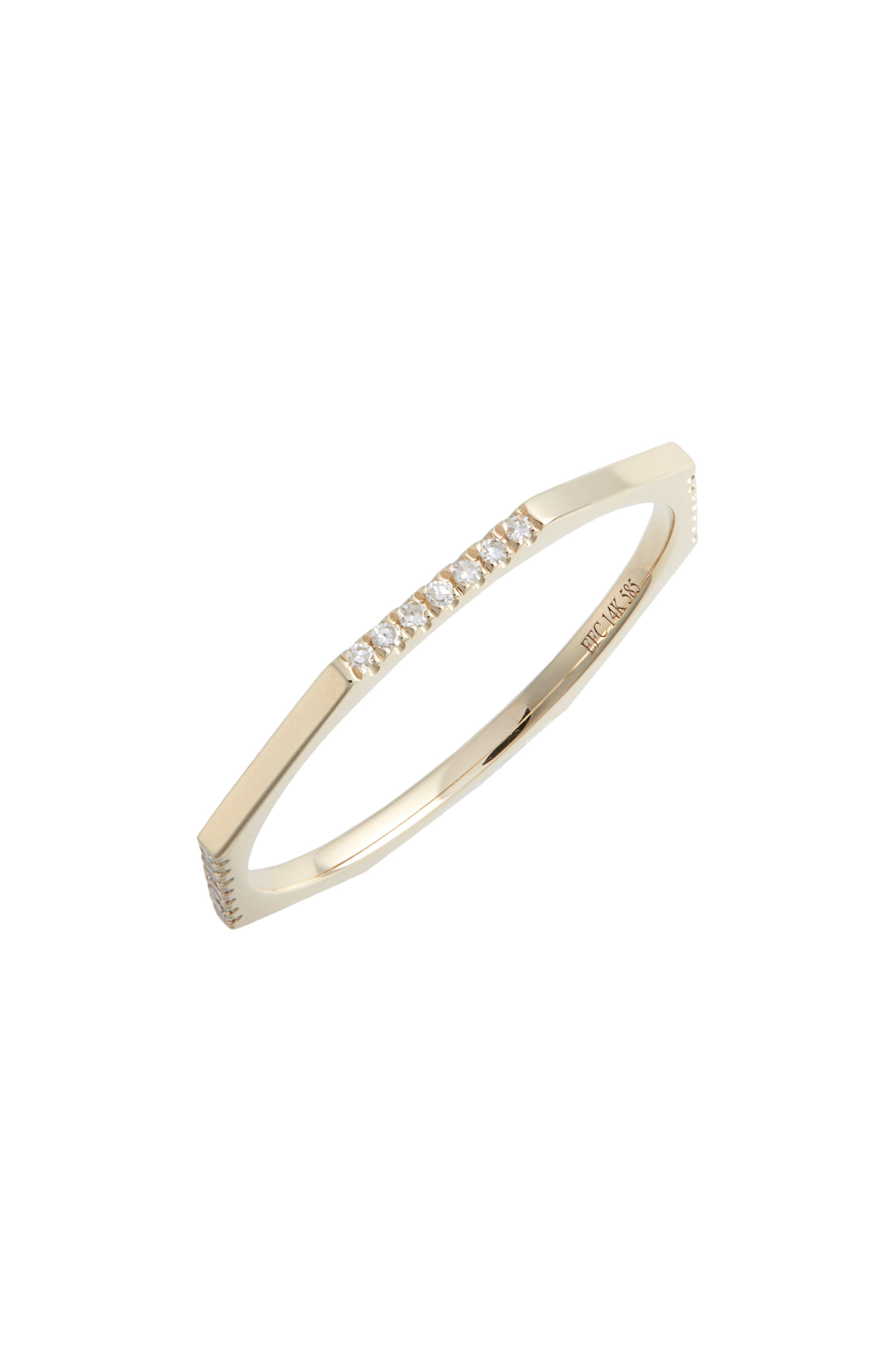 EF COLLECTION Half Diamond Octagon Ring, Main, color, YELLOW GOLD/ DIAMOND