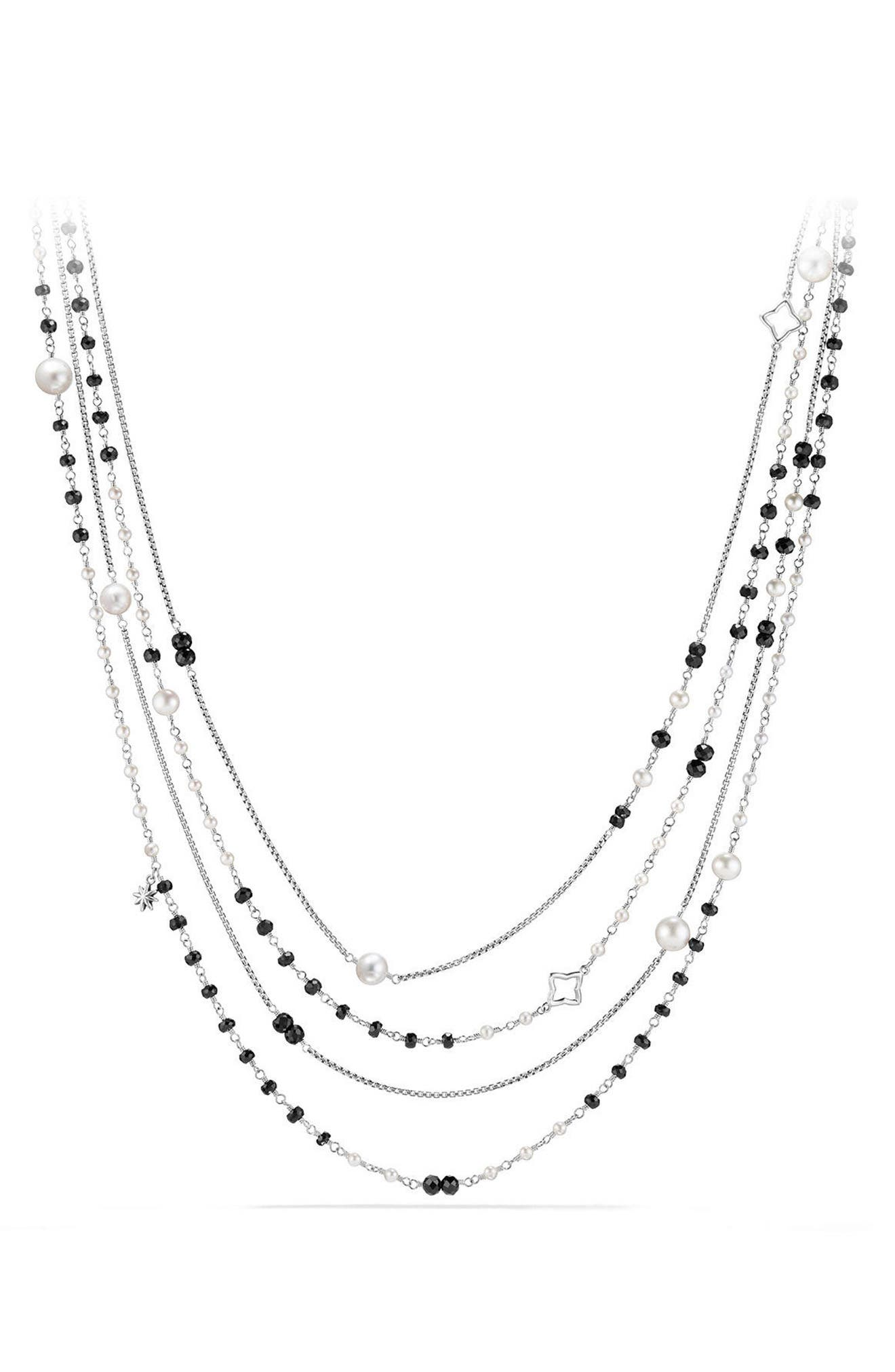 Solari Two Row Pearl Chain Necklace,                             Main thumbnail 1, color,                             PEARL/ BLACK SPINEL
