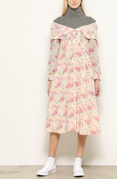 Mixed Media Floral Turtleneck Dress, video thumbnail